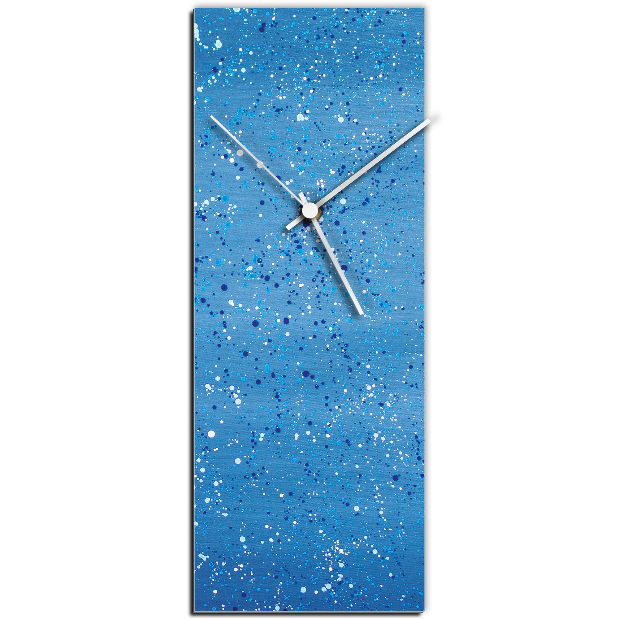 Mendo Vasilevski 'Blue Flecked Clock Large' 9in x 24in Modern Wall Clock on Aluminum Composite