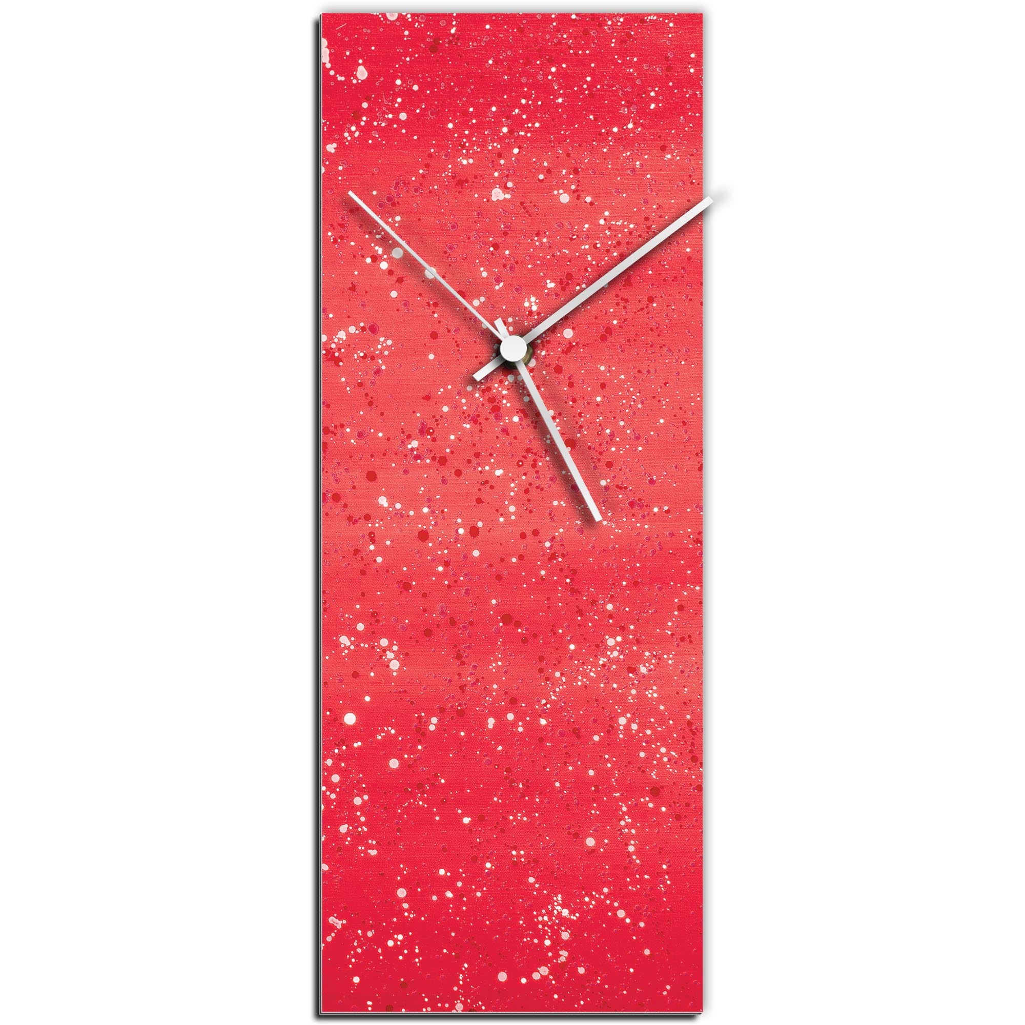 Mendo Vasilevski 'Red Flecked Clock' 6in x 16in Modern Wall Clock on Aluminum Composite