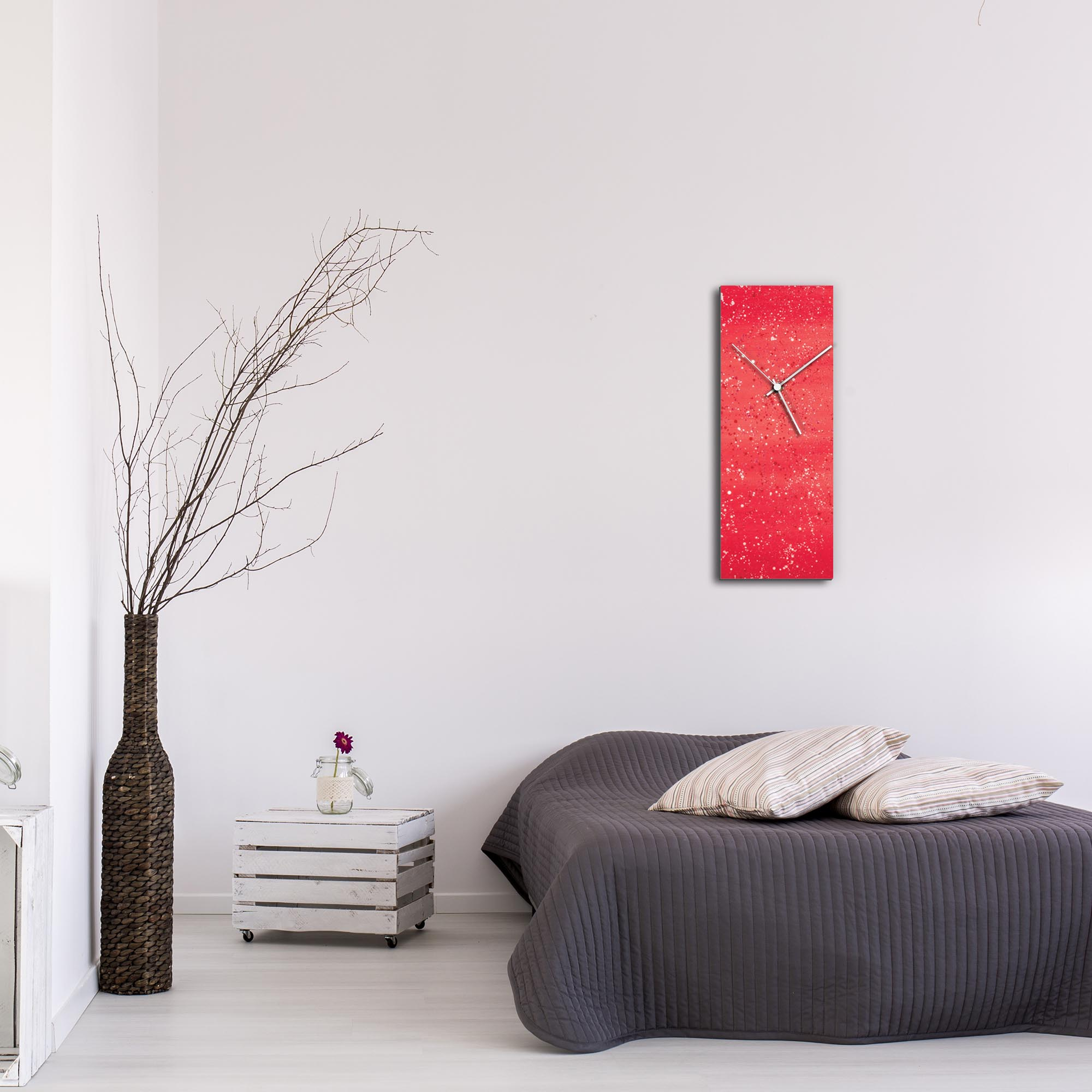 Red Flecked Clock Large by Mendo Vasilevski - Urban Abstract Home Decor - Lifestyle View
