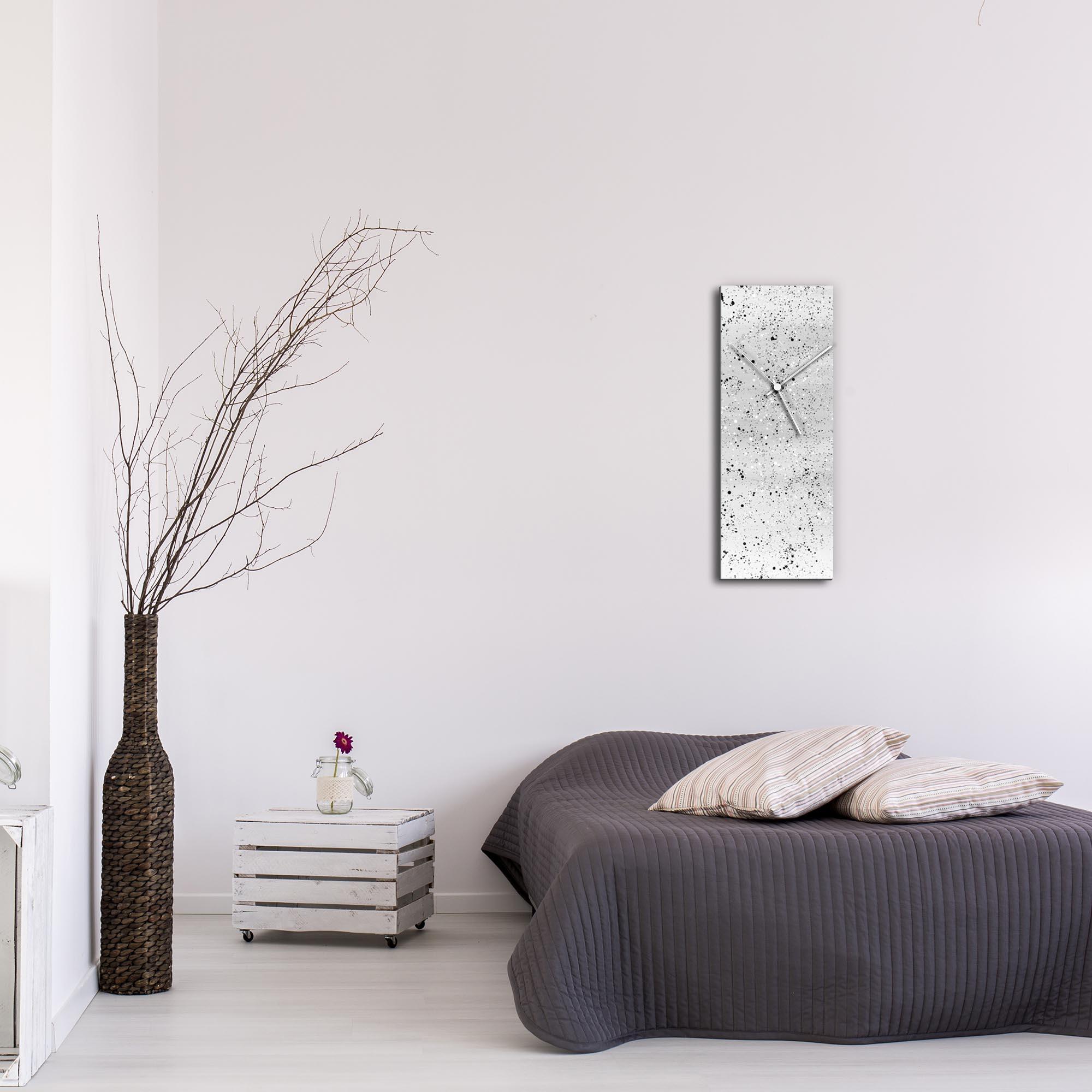 White Flecked Clock Large by Mendo Vasilevski - Urban Abstract Home Decor - Lifestyle View