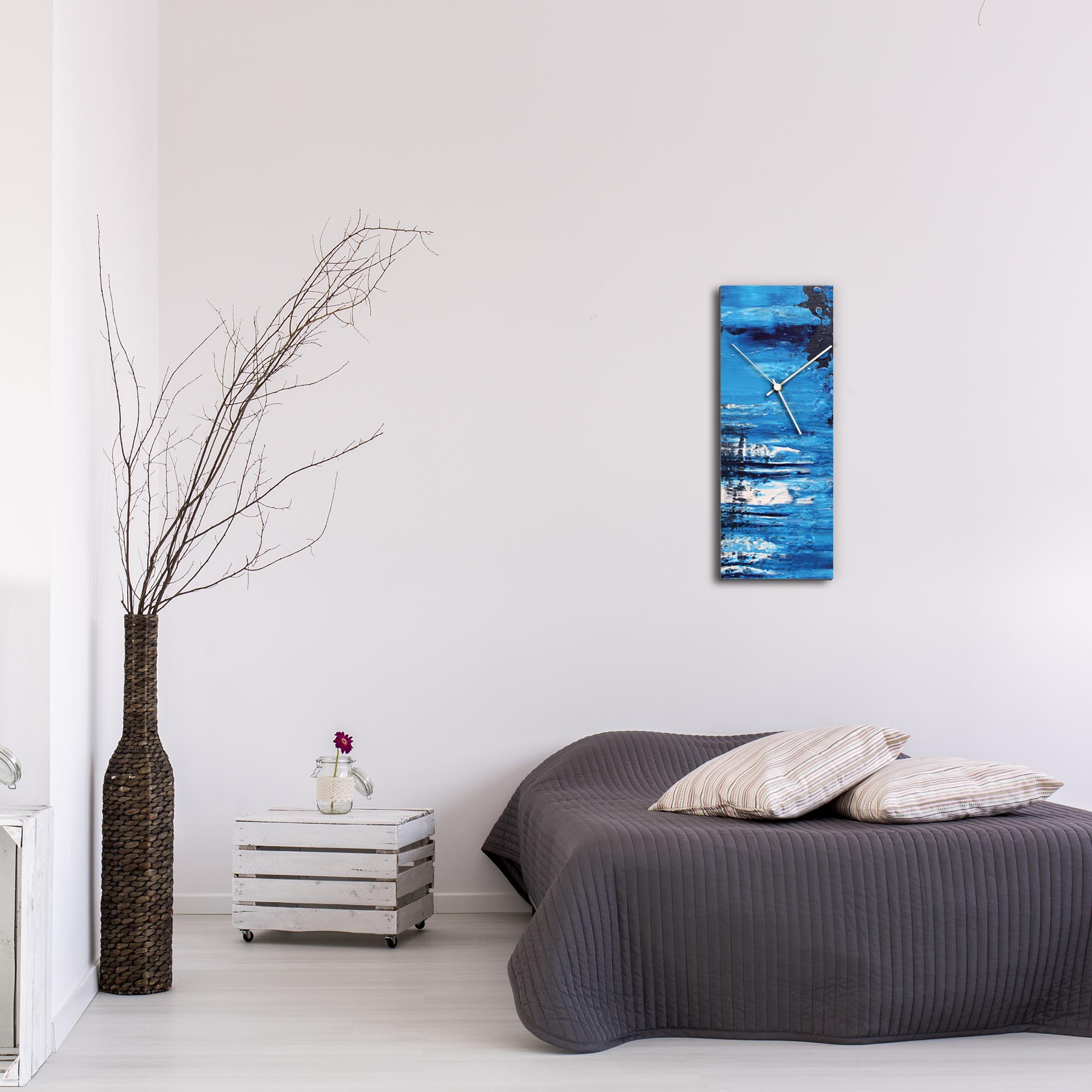 City Blue v1 Clock Large by Mendo Vasilevski - Urban Abstract Home Decor - Lifestyle View