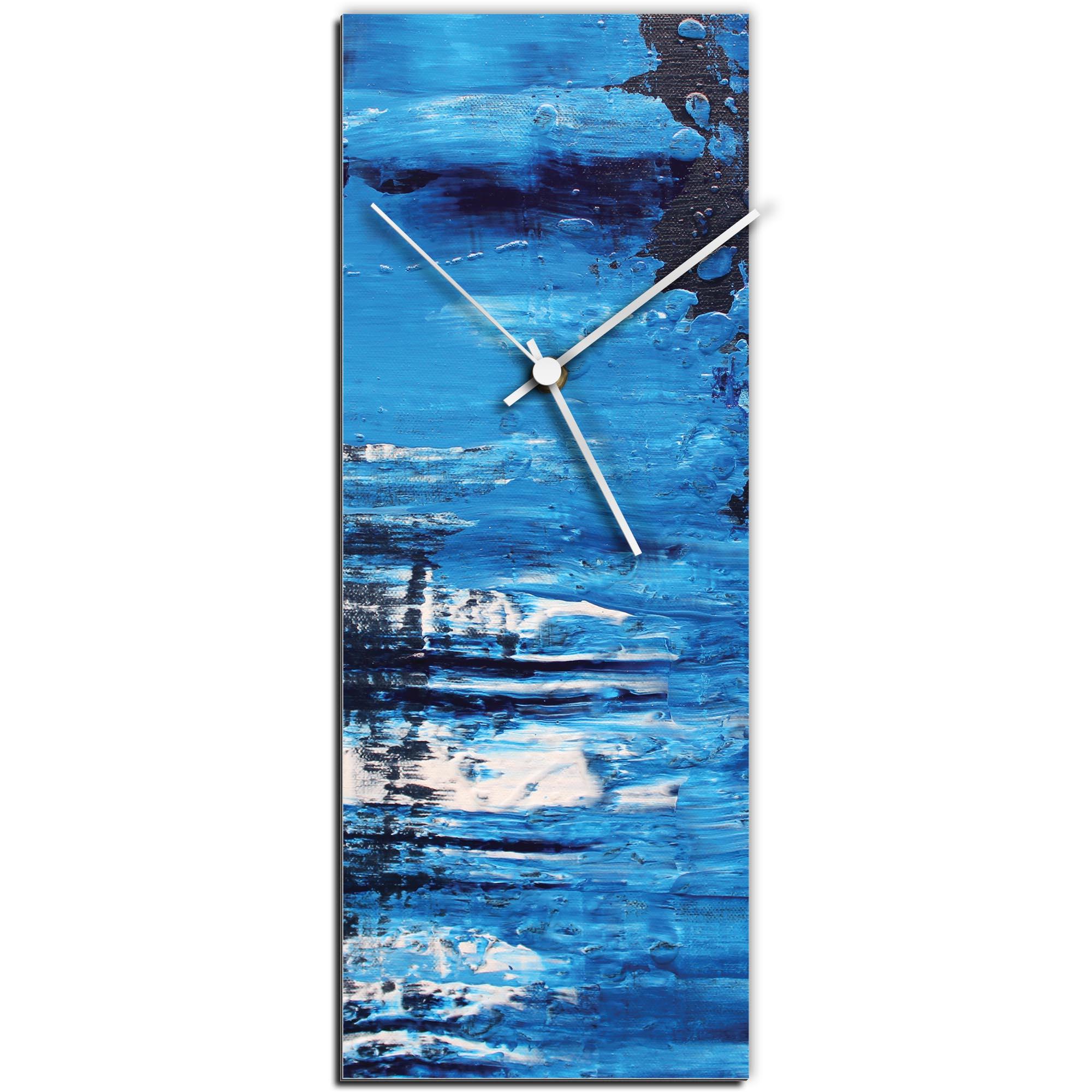 Mendo Vasilevski 'City Blue v1 Clock Large' 9in x 24in Modern Wall Clock on Aluminum Composite