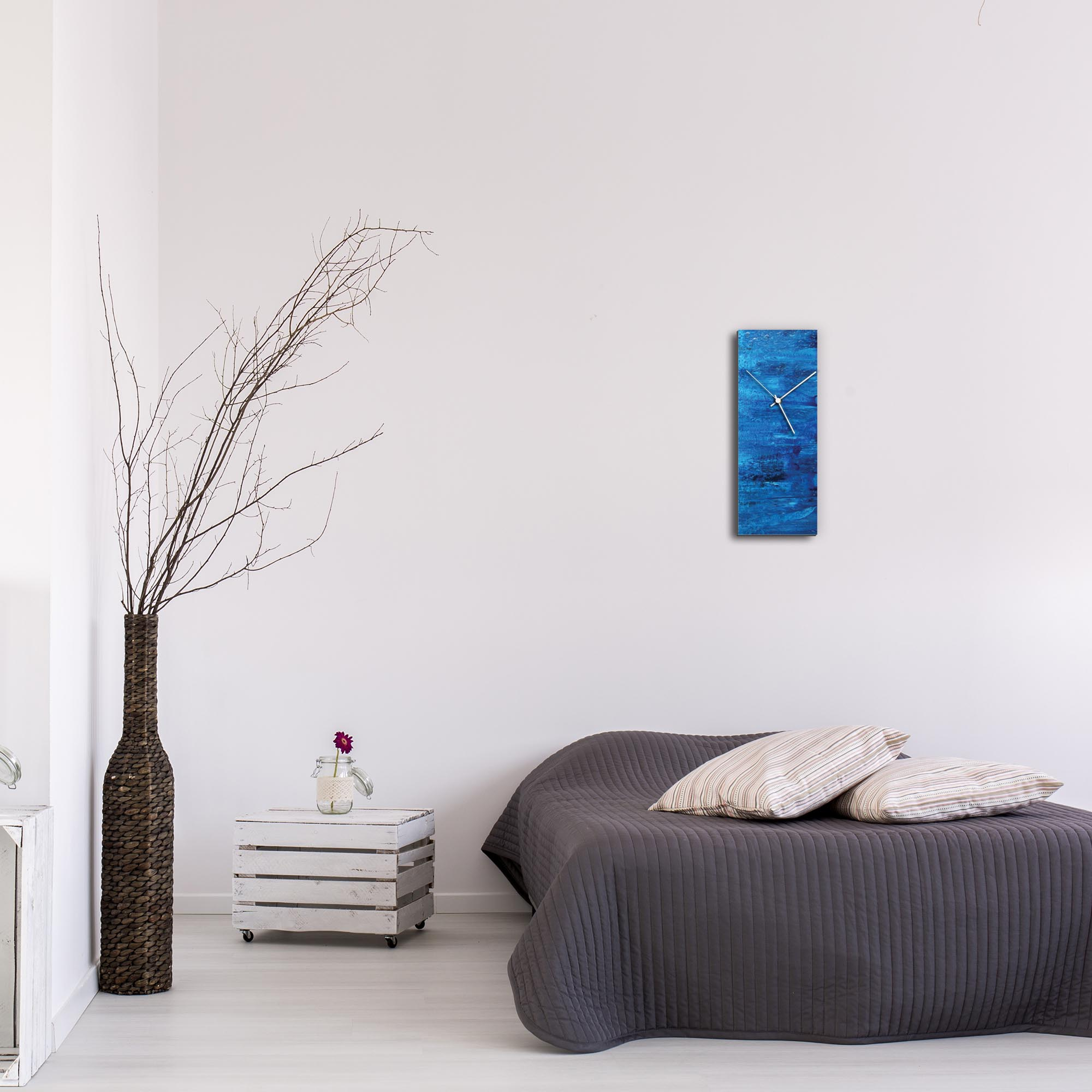 City Blue v2 Clock by Mendo Vasilevski - Urban Abstract Home Decor - Lifestyle View