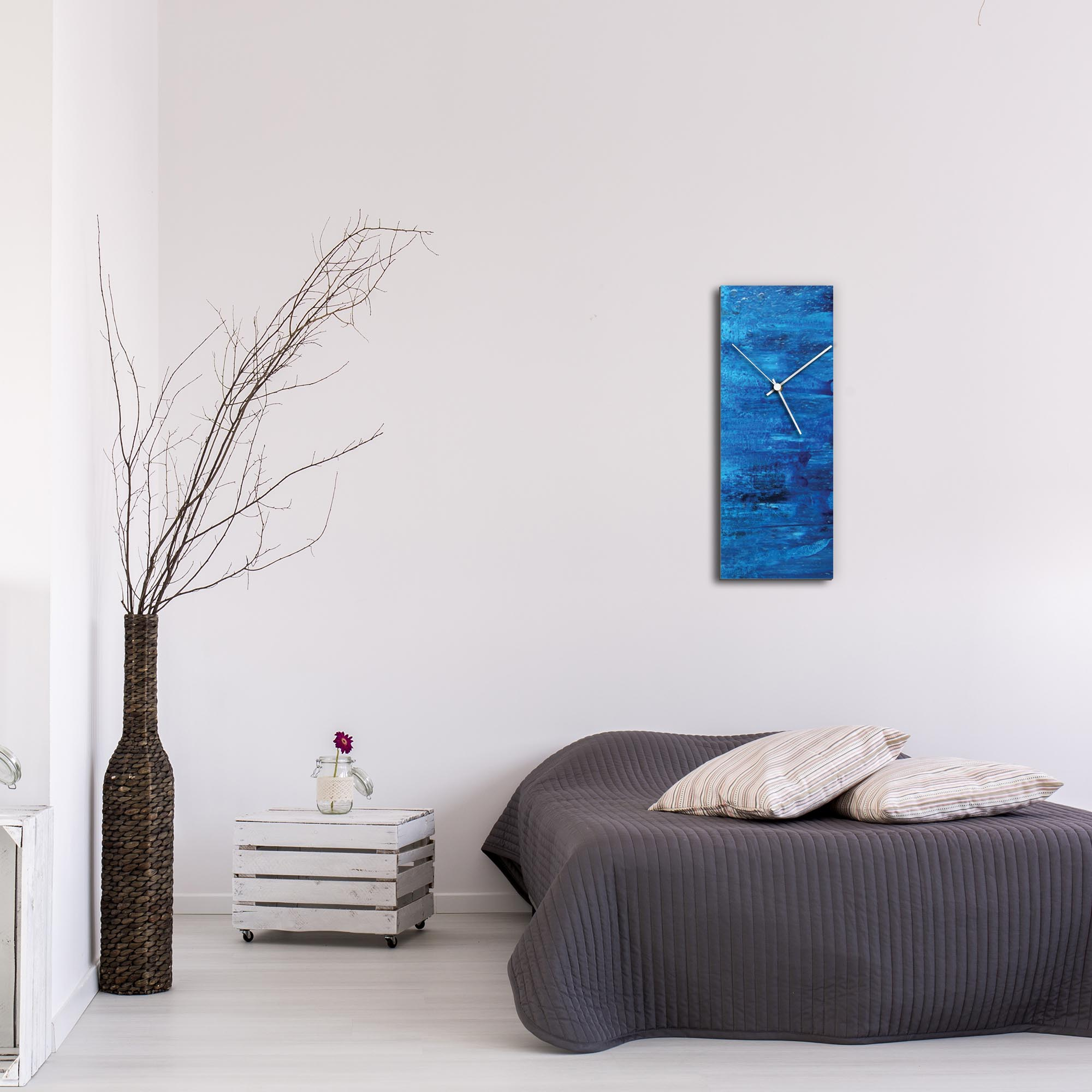 City Blue v2 Clock Large by Mendo Vasilevski - Urban Abstract Home Decor - Lifestyle View