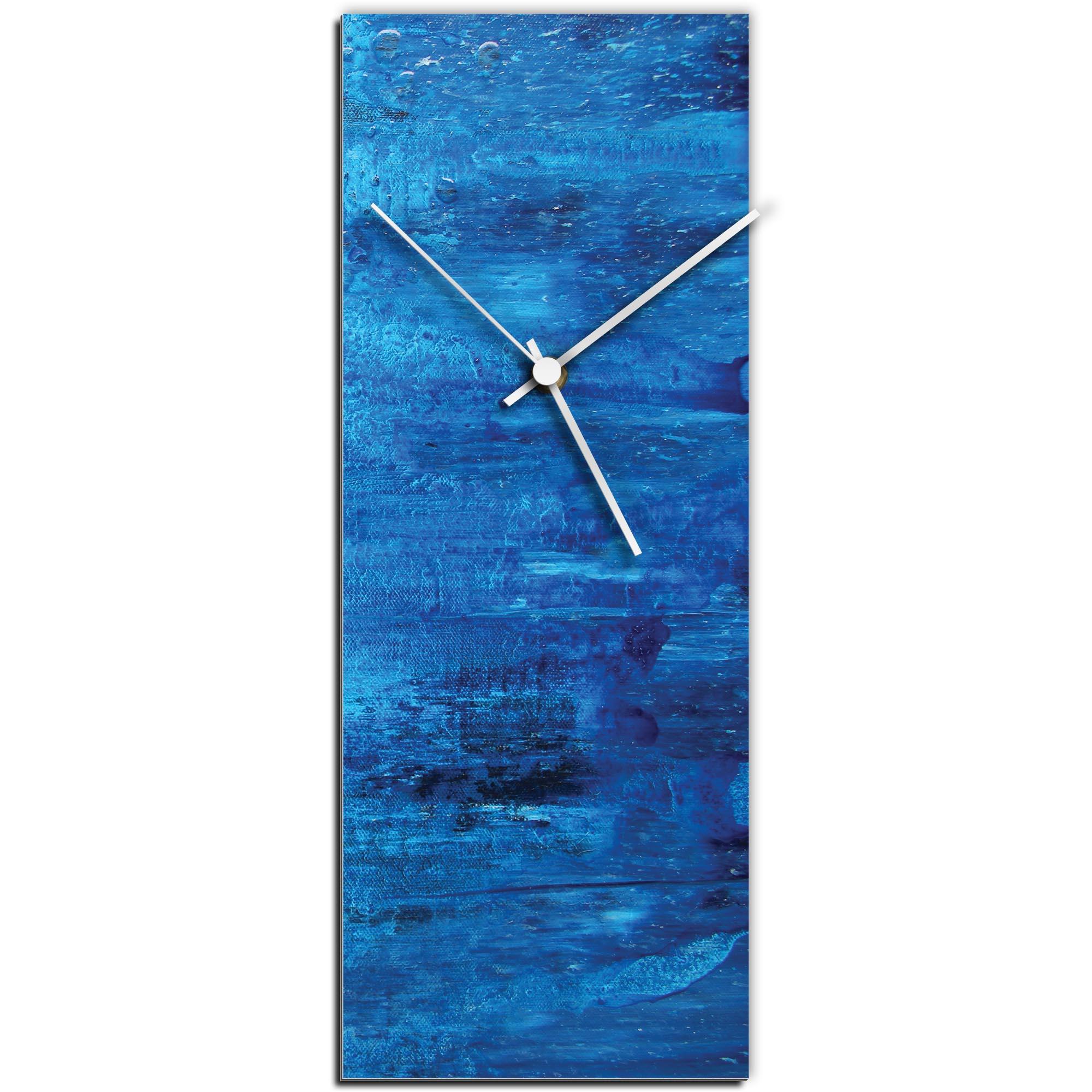 Mendo Vasilevski 'City Blue v2 Clock Large' 9in x 24in Modern Wall Clock on Aluminum Composite
