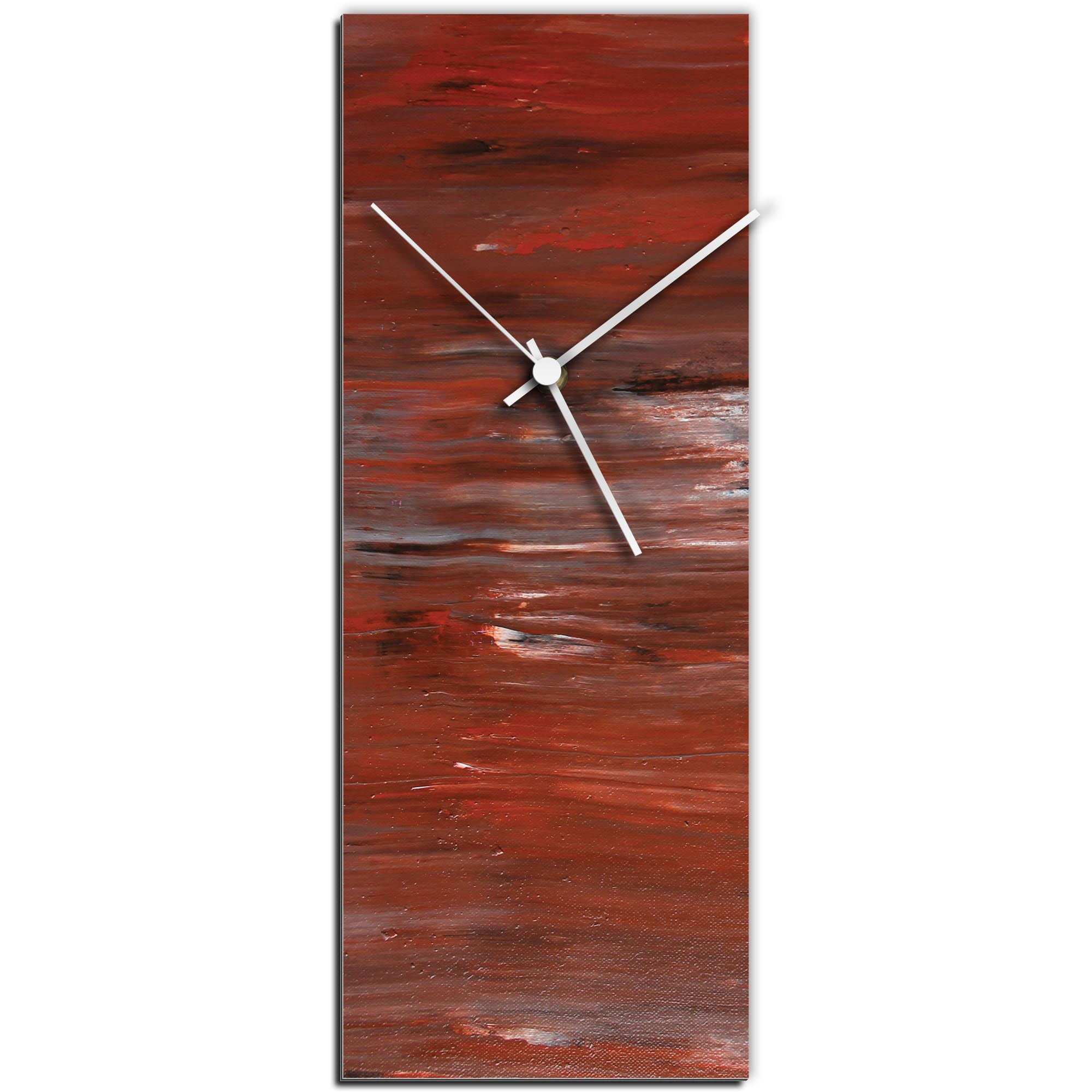 Mendo Vasilevski 'City Brick Clock' 6in x 16in Modern Wall Clock on Aluminum Composite
