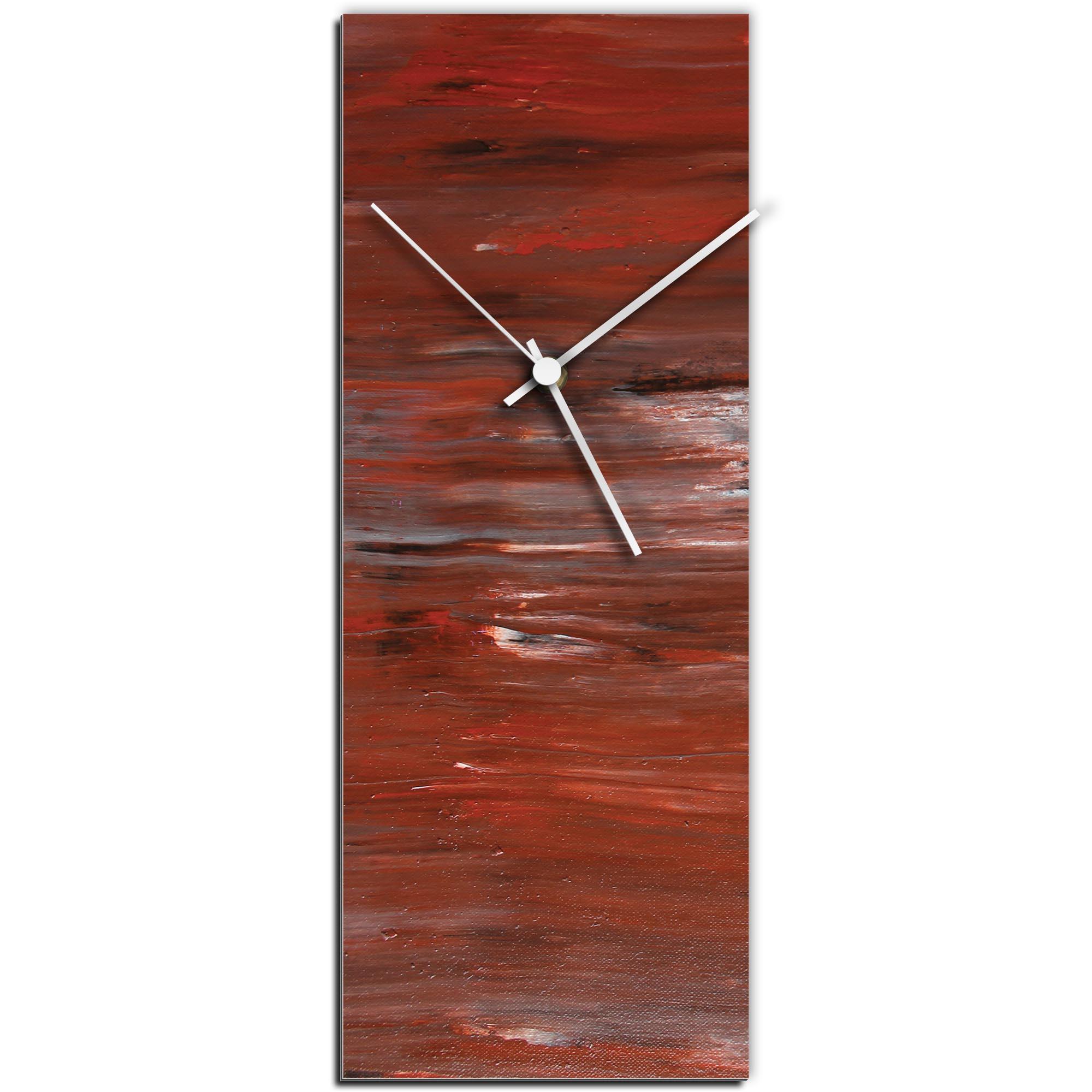 Mendo Vasilevski 'City Brick Clock Large' 9in x 24in Modern Wall Clock on Aluminum Composite