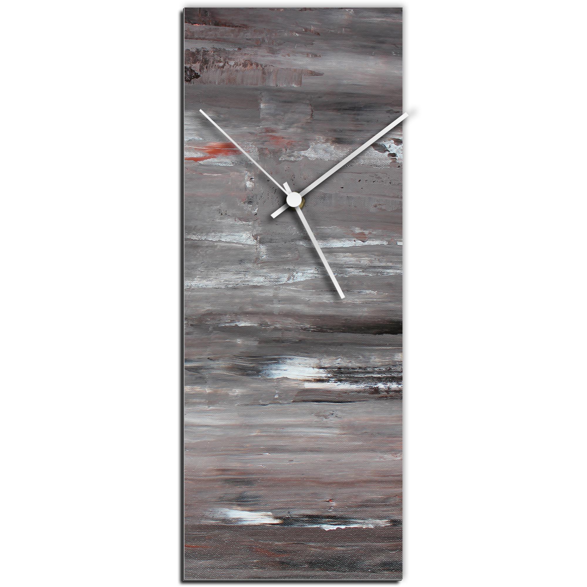 Mendo Vasilevski 'City Cinder Clock Large' 9in x 24in Modern Wall Clock on Aluminum Composite