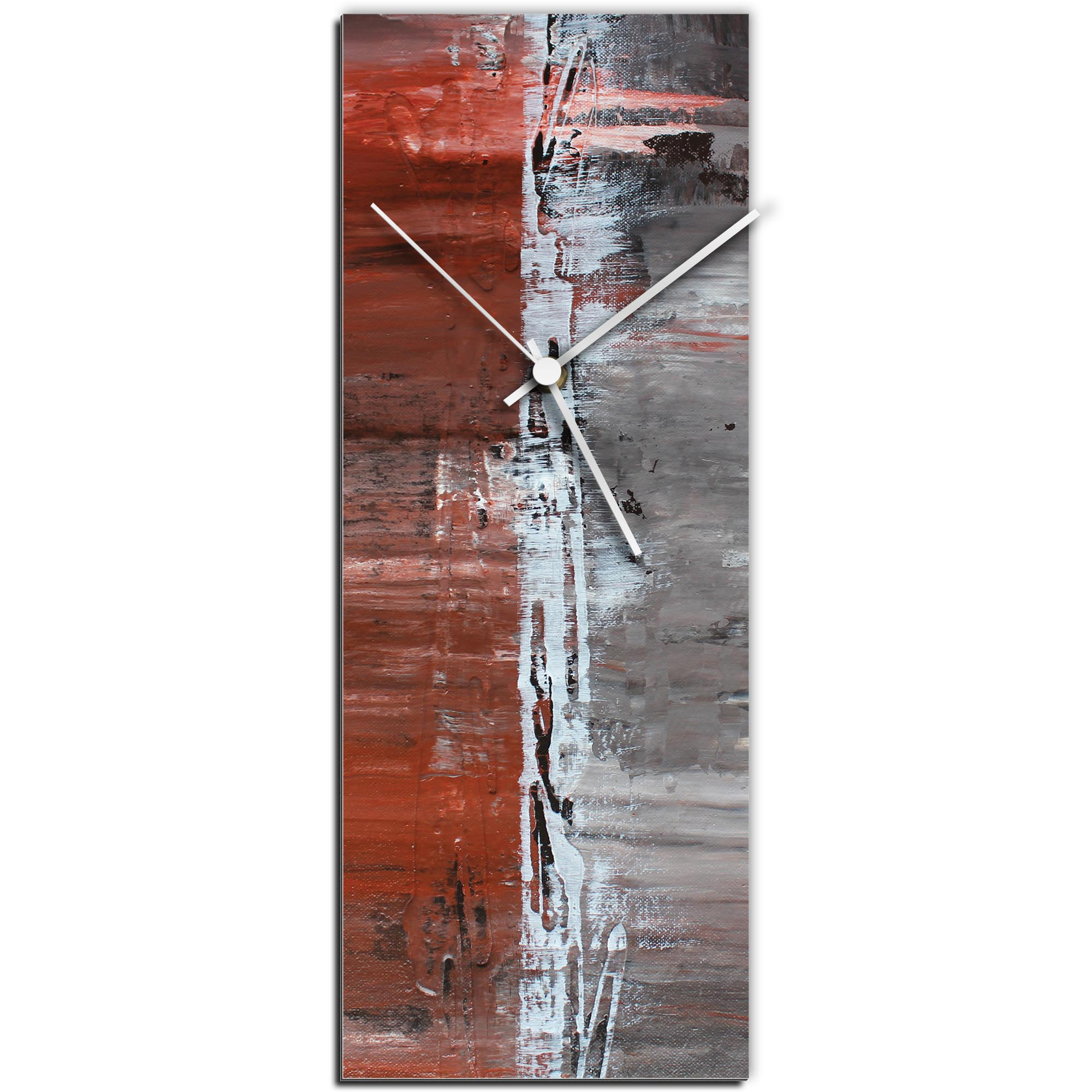 Mendo Vasilevski 'City Alley Clock Large' 9in x 24in Modern Wall Clock on Aluminum Composite