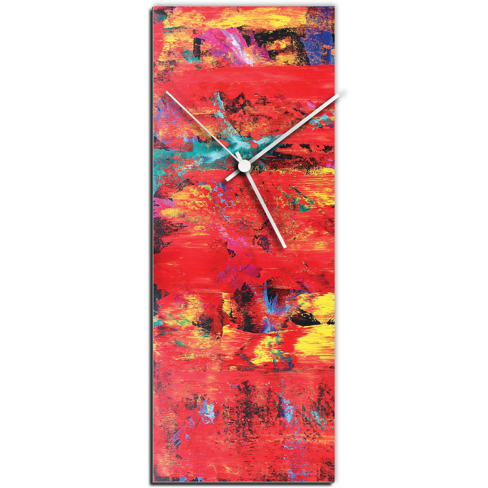 Mendo Vasilevski 'City Colors Clock Large' 9in x 24in Modern Wall Clock on Aluminum Composite
