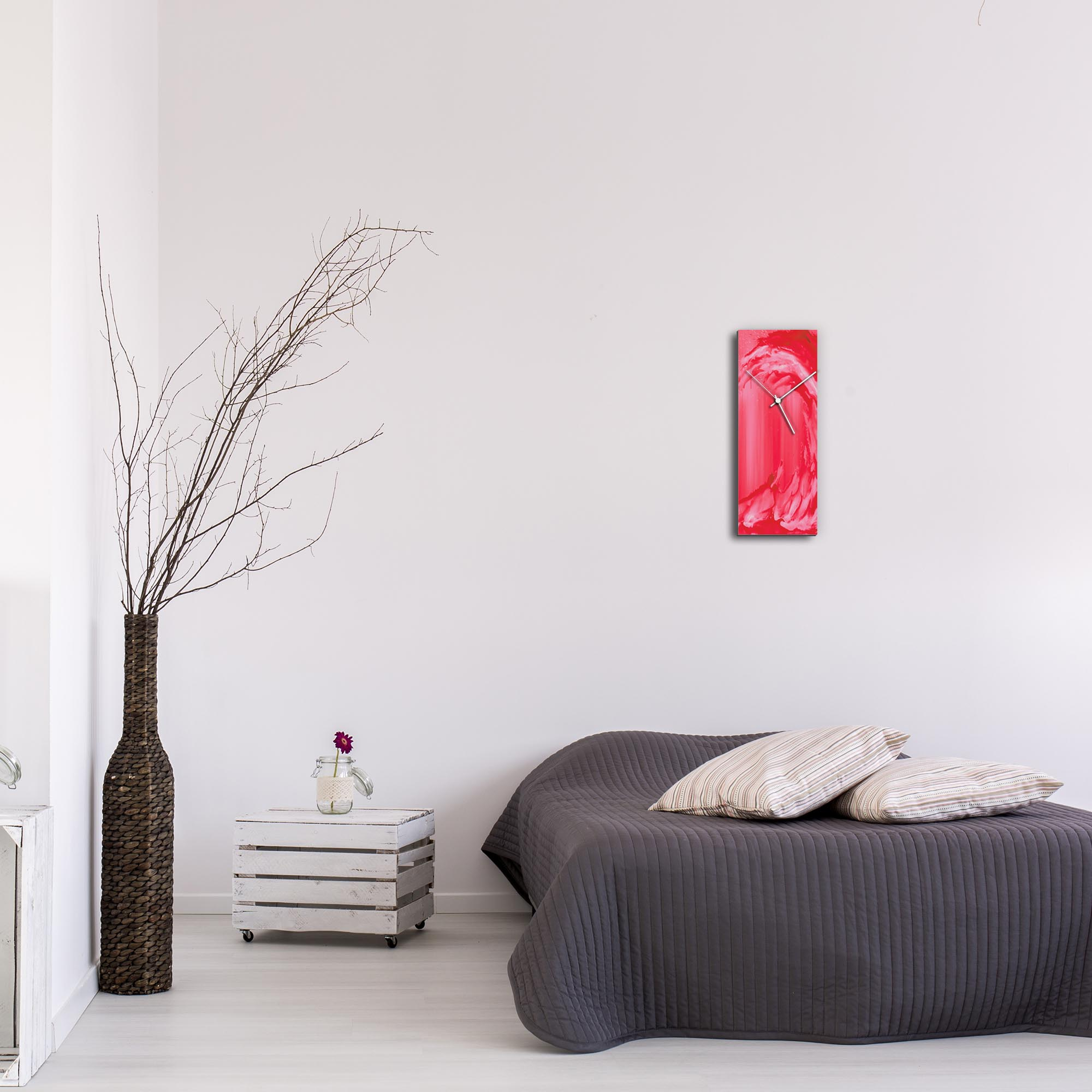 Red Wave v2 Clock by Mendo Vasilevski - Urban Abstract Home Decor - Lifestyle View