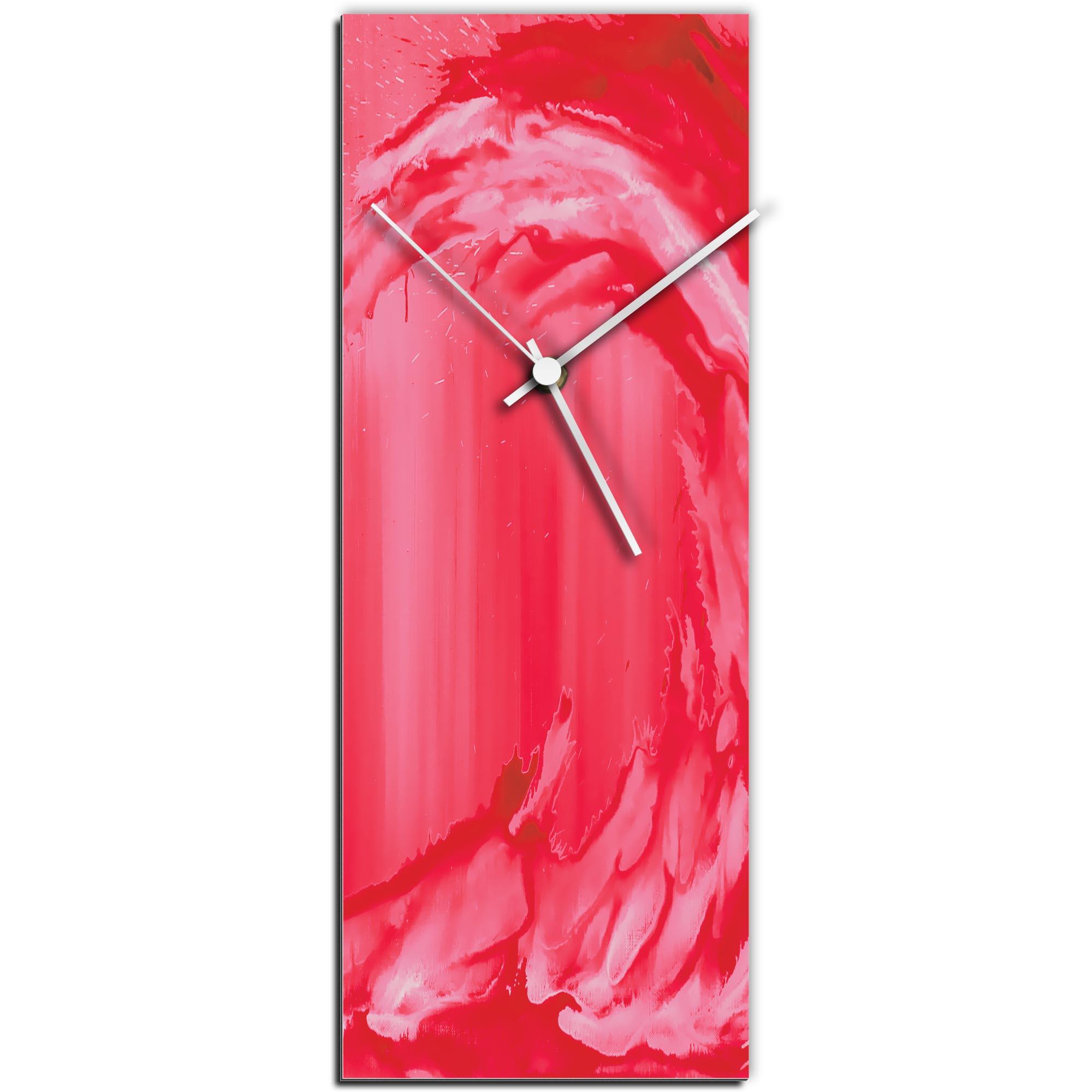 Mendo Vasilevski 'Red Wave v2 Clock' 6in x 16in Modern Wall Clock on Aluminum Composite