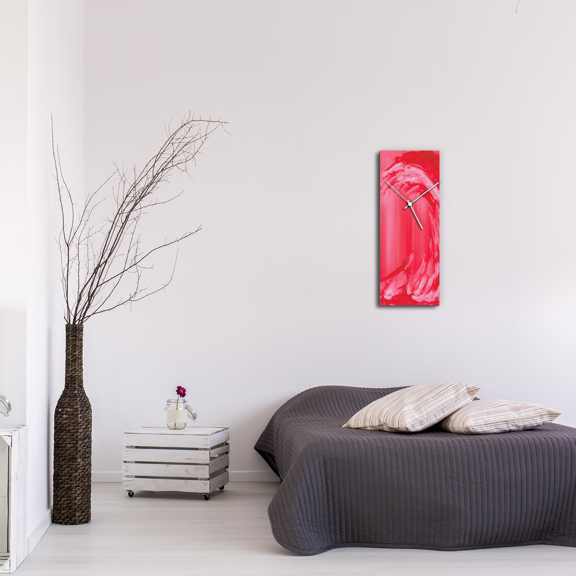 Red Wave v2 Clock Large by Mendo Vasilevski - Urban Abstract Home Decor - Lifestyle View