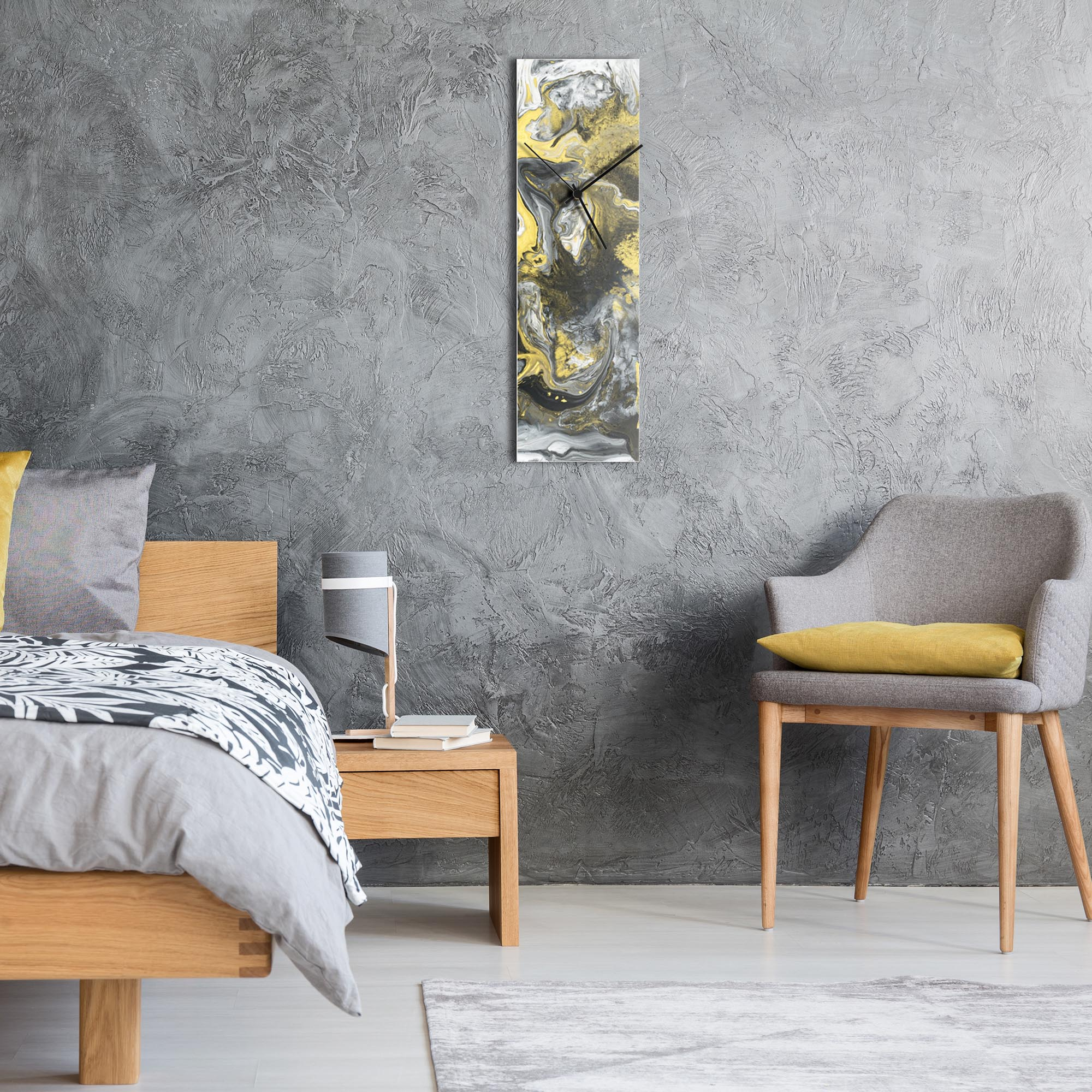 Sentinal Clock v6 by NAY - Neutral Tones Modern Wall Clock - Lifestyle View