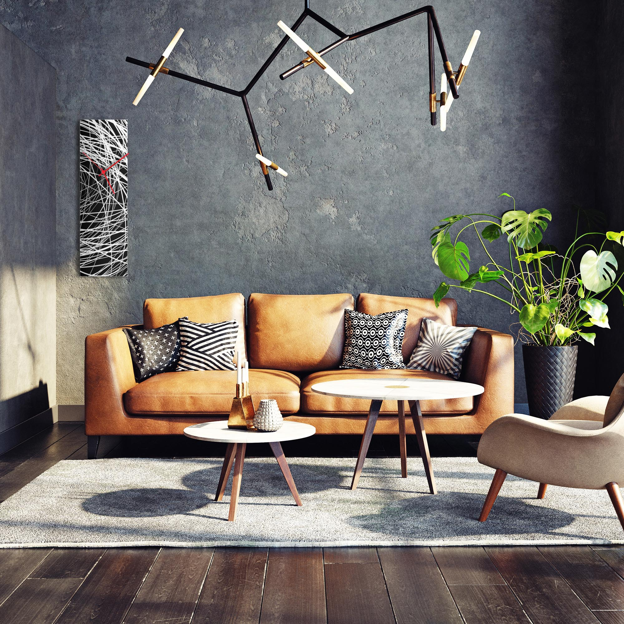 Mono Clock v2 by NAY - Black & White Modern Wall Clock - Lifestyle View