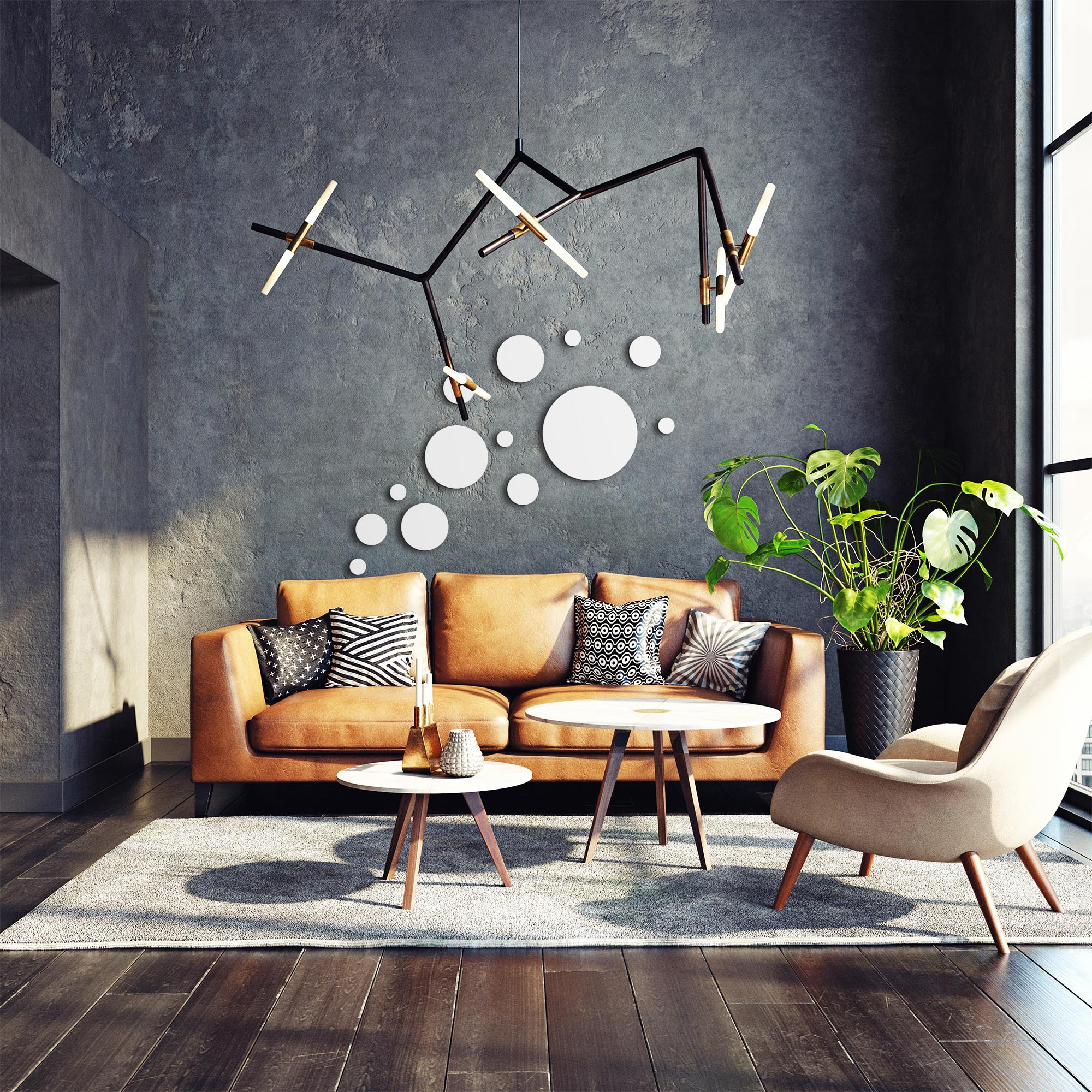 Floating White by NAY - Circles Abstract Art, Modern Wall Decor - Lifestyle View