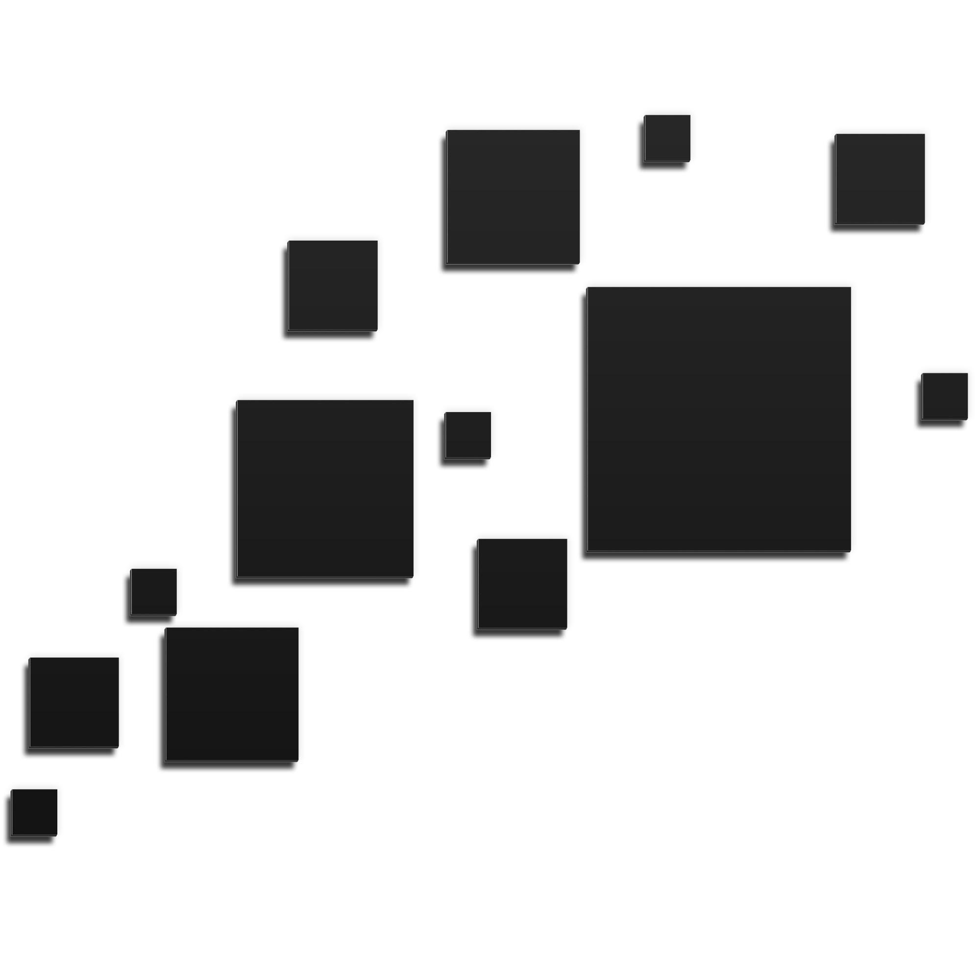 NAY 'Pixels Black' 66in x 50in Squares Abstract Art on Aluminum Composite