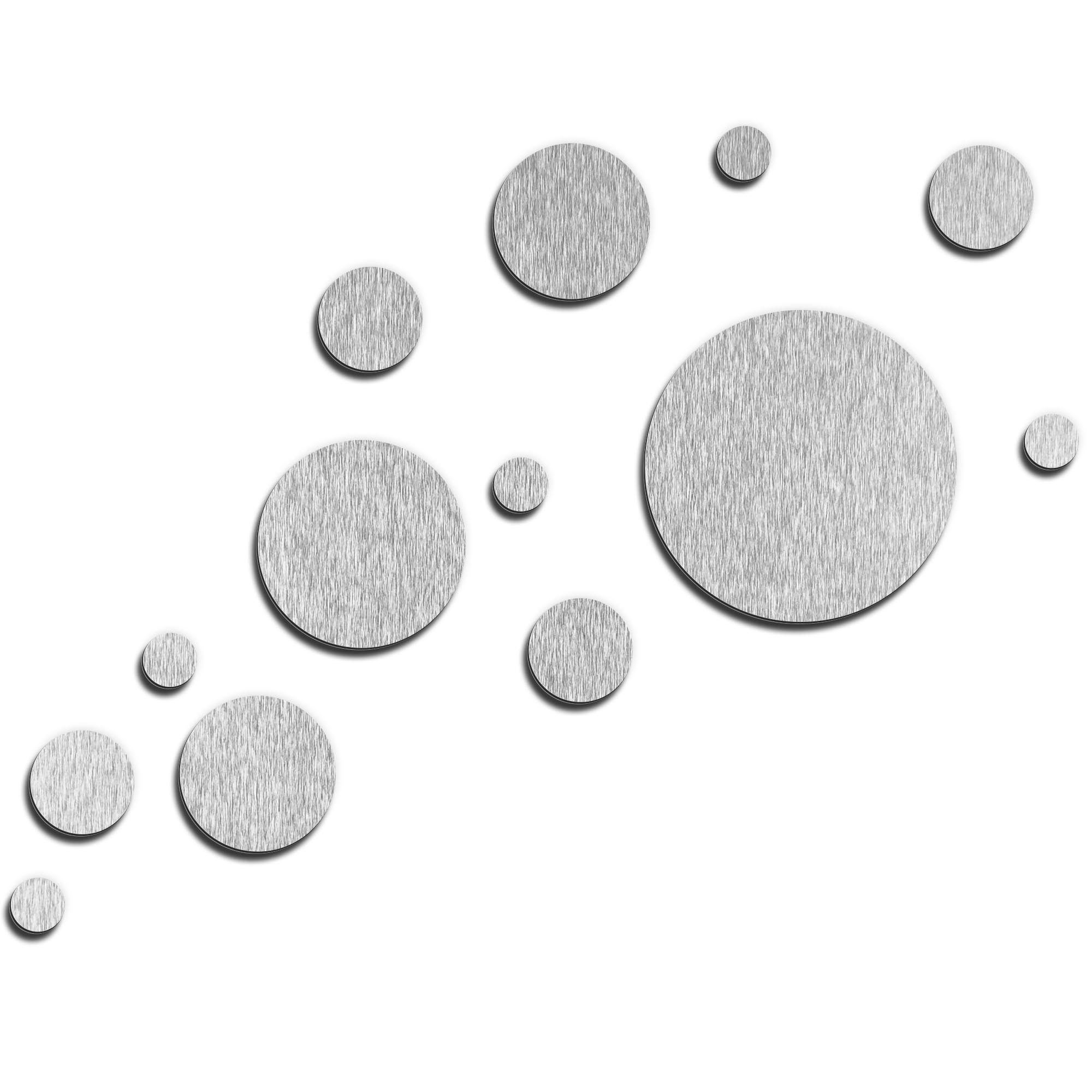 NAY 'Floating Silver' 66in x 50in Circles Abstract Art on Aluminum Composite