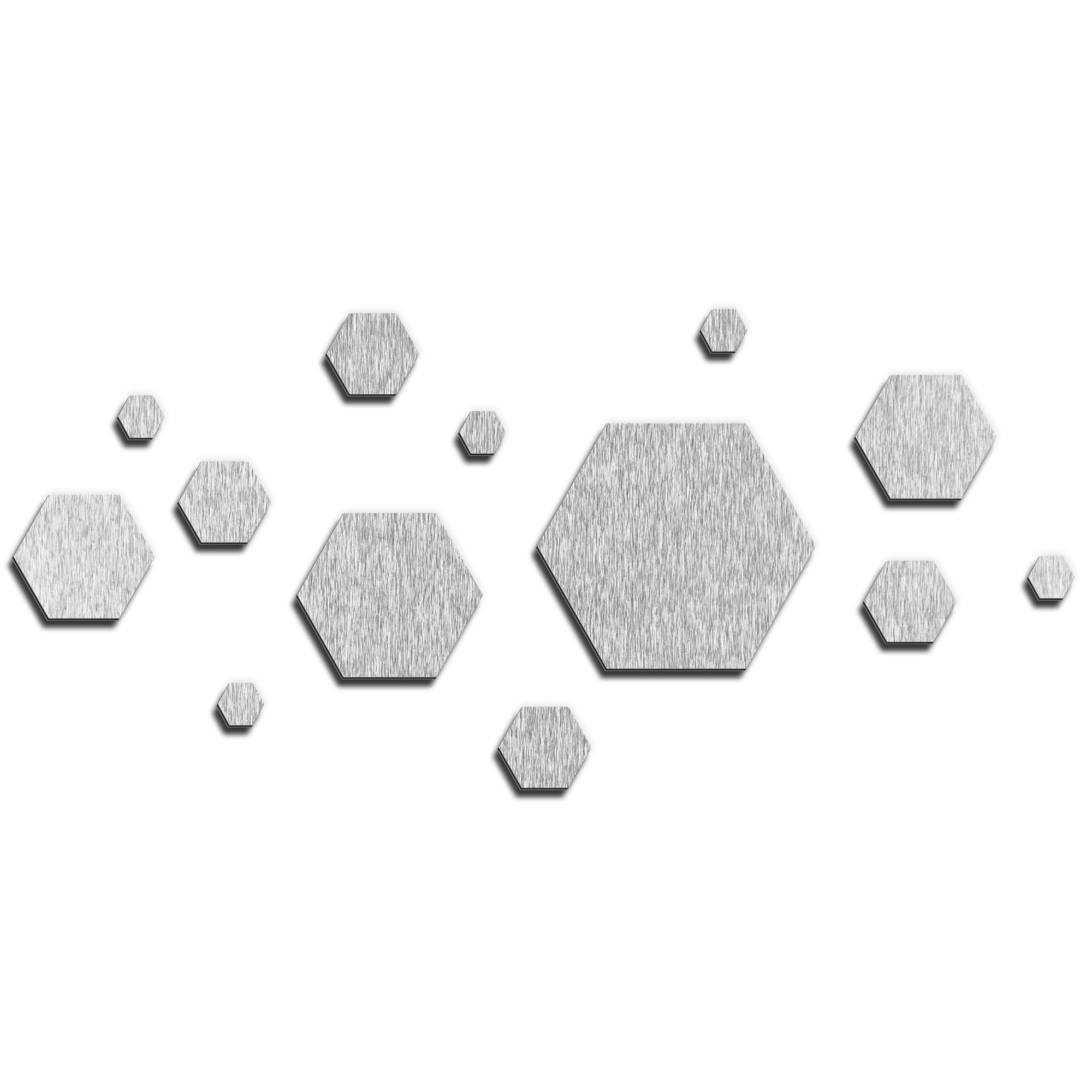 NAY 'Honeycomb Silver' 70in x 32in Hexagons Abstract Art on Aluminum Composite