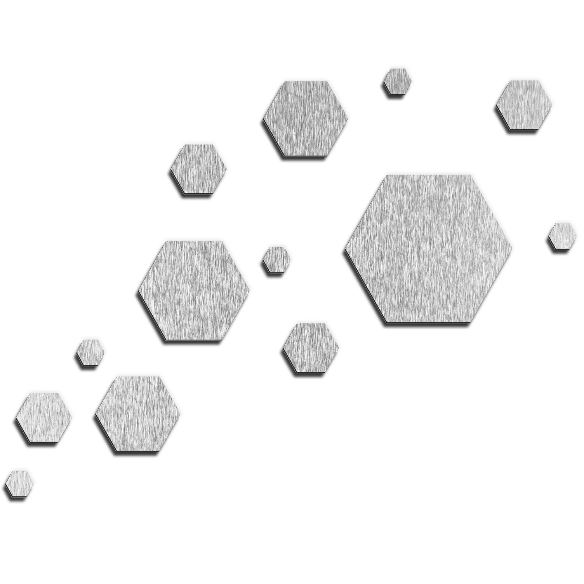 NAY 'Carbon Silver' 66in x 50in Hexagons Abstract Art on Aluminum Composite