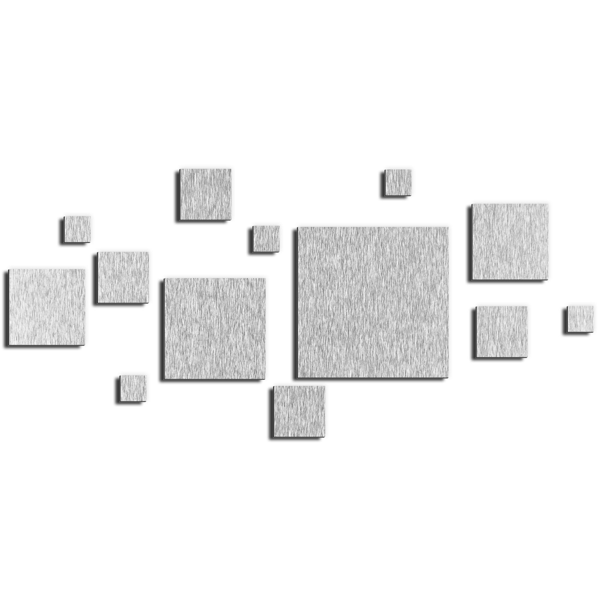 NAY 'Aerial Silver' 70in x 32in Squares Abstract Art on Aluminum Composite
