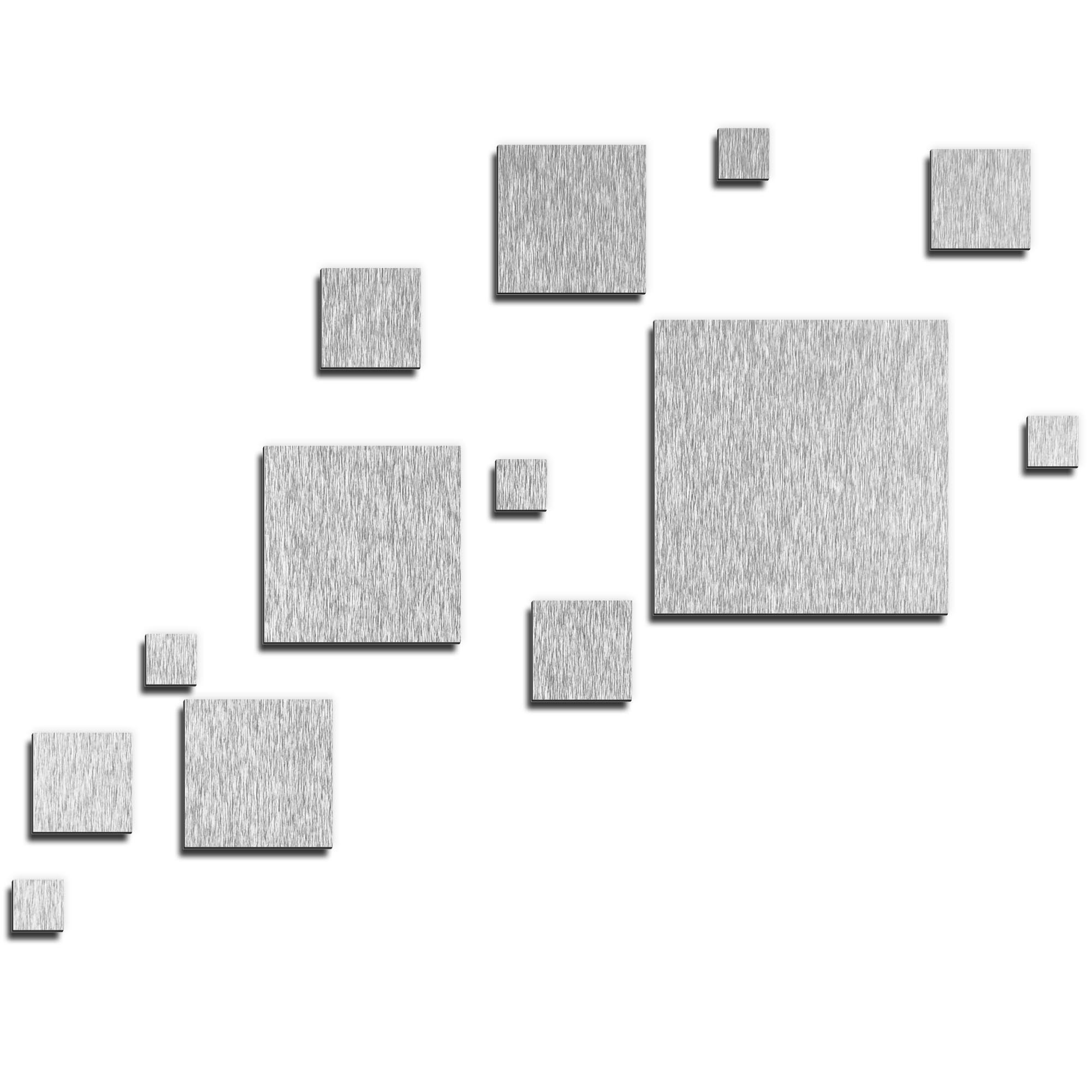 NAY 'Pixels Silver' 66in x 50in Squares Abstract Art on Aluminum Composite
