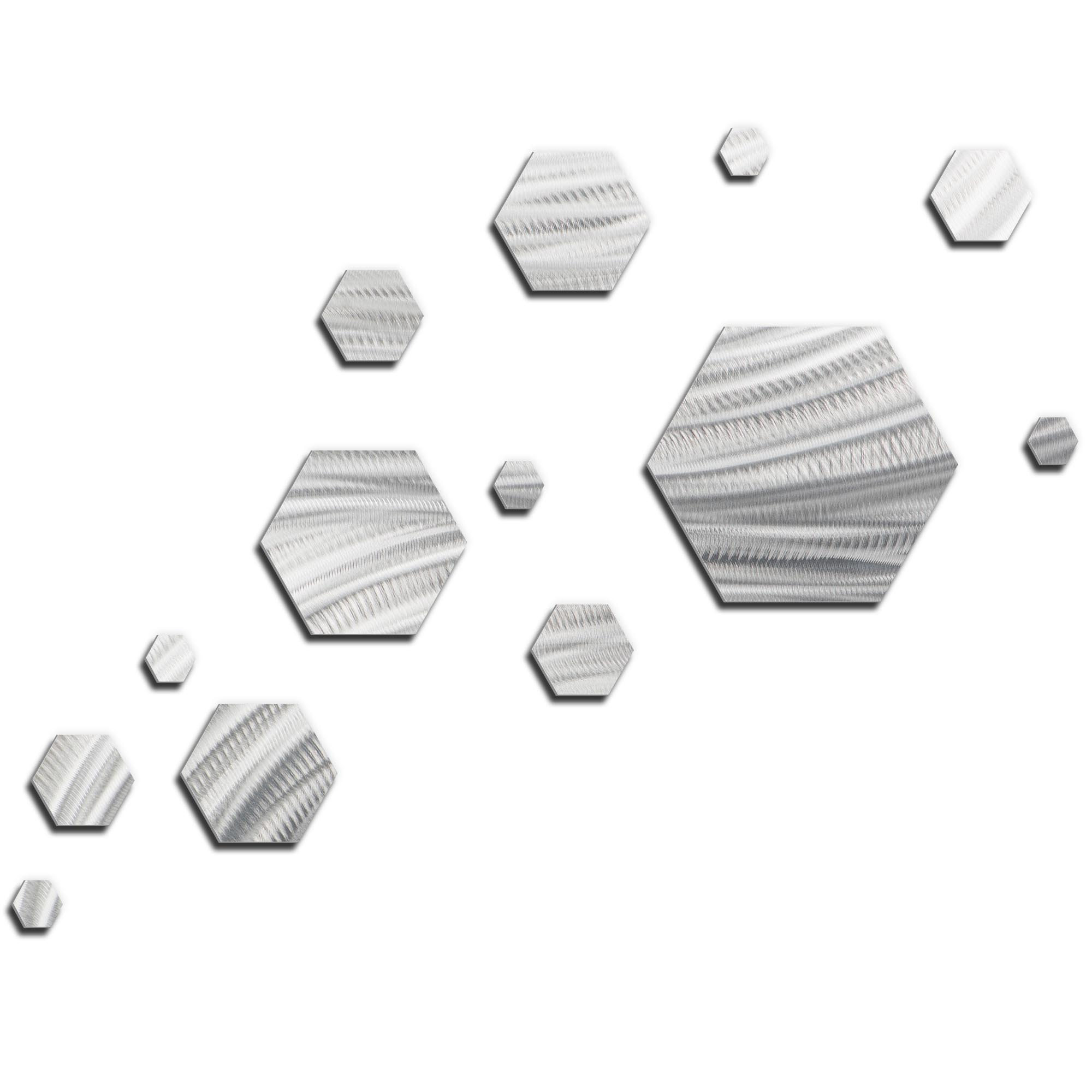NAY 'Carbon Wave' 66in x 50in Hexagons Abstract Art on Metal