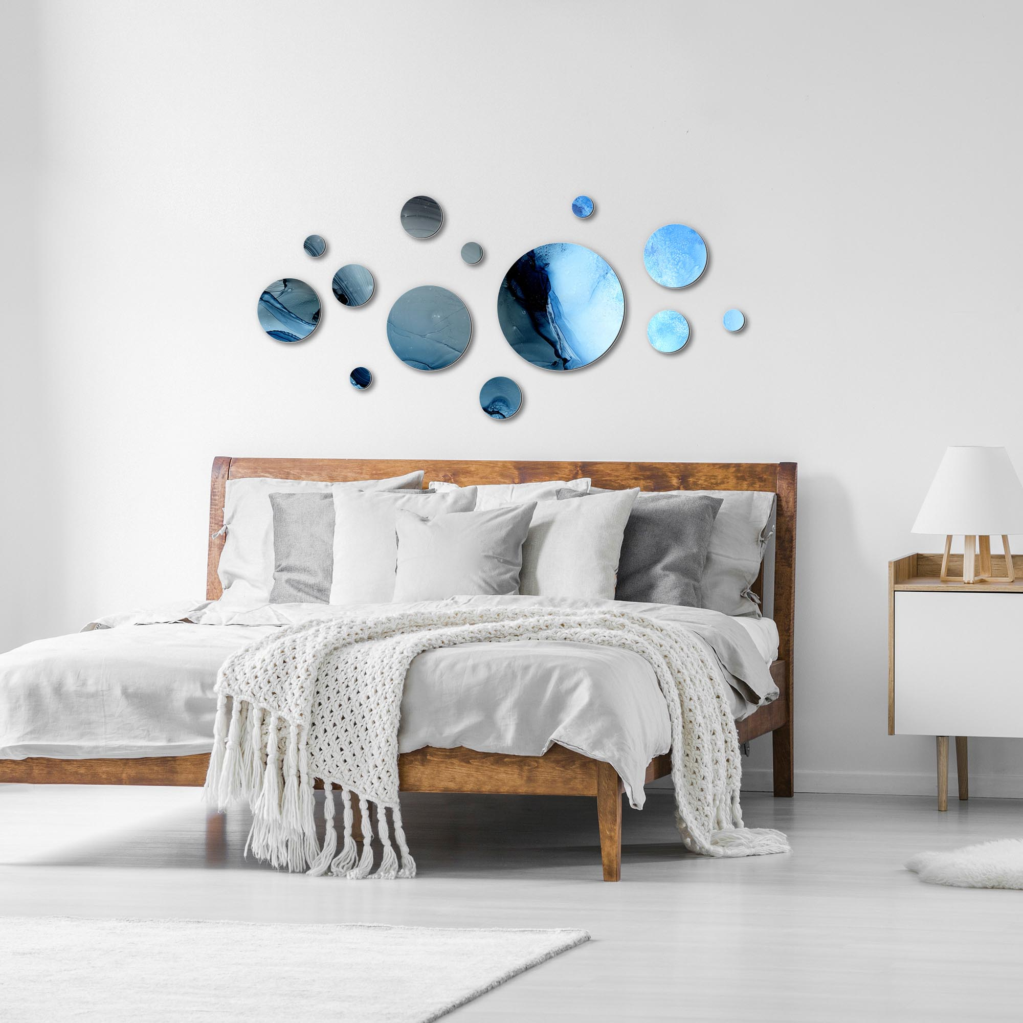 Suspended Blue by NAY - Circles Abstract Art, Modern Wall Decor - Lifestyle View