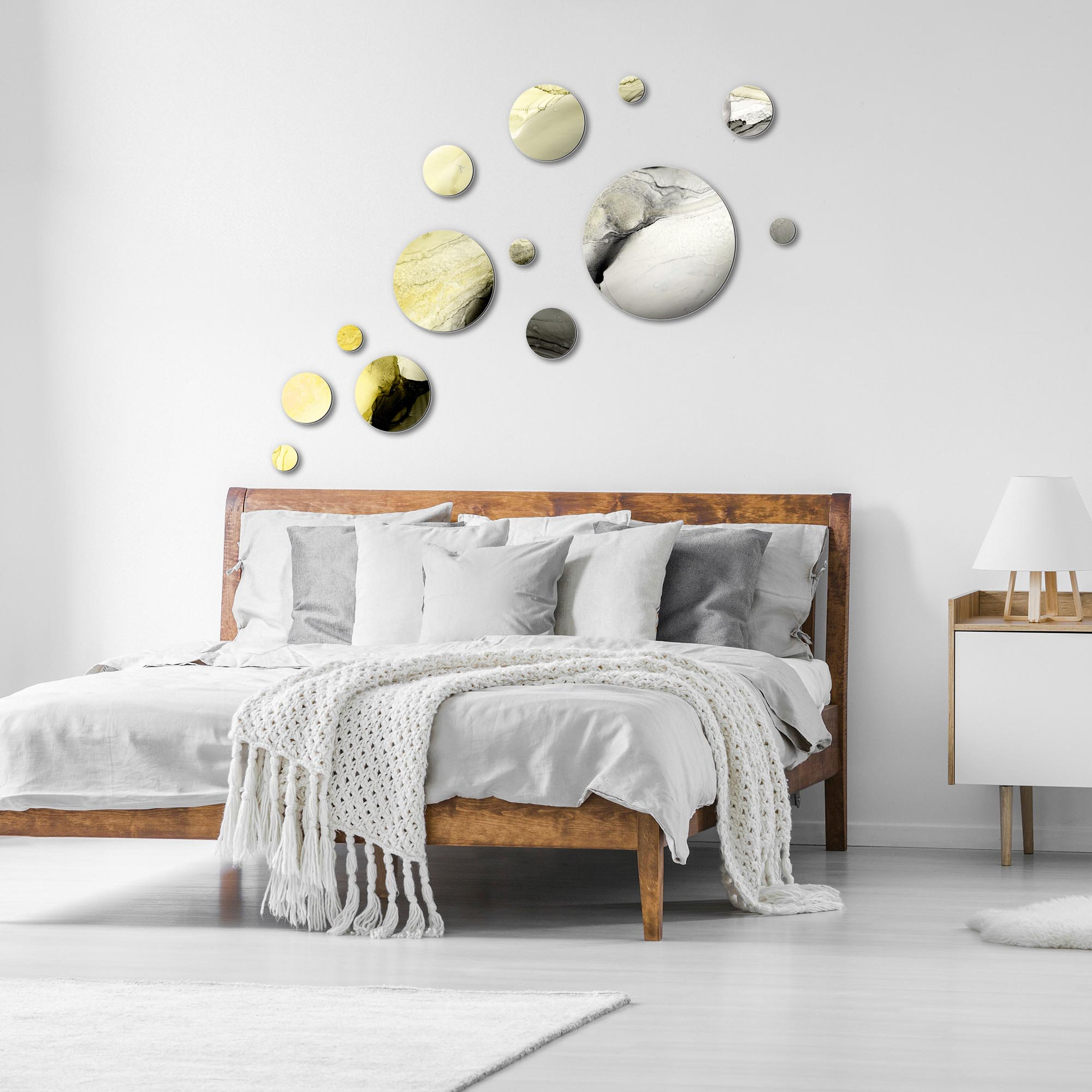 Floating Gold by NAY - Circles Abstract Art, Modern Wall Decor - Lifestyle View