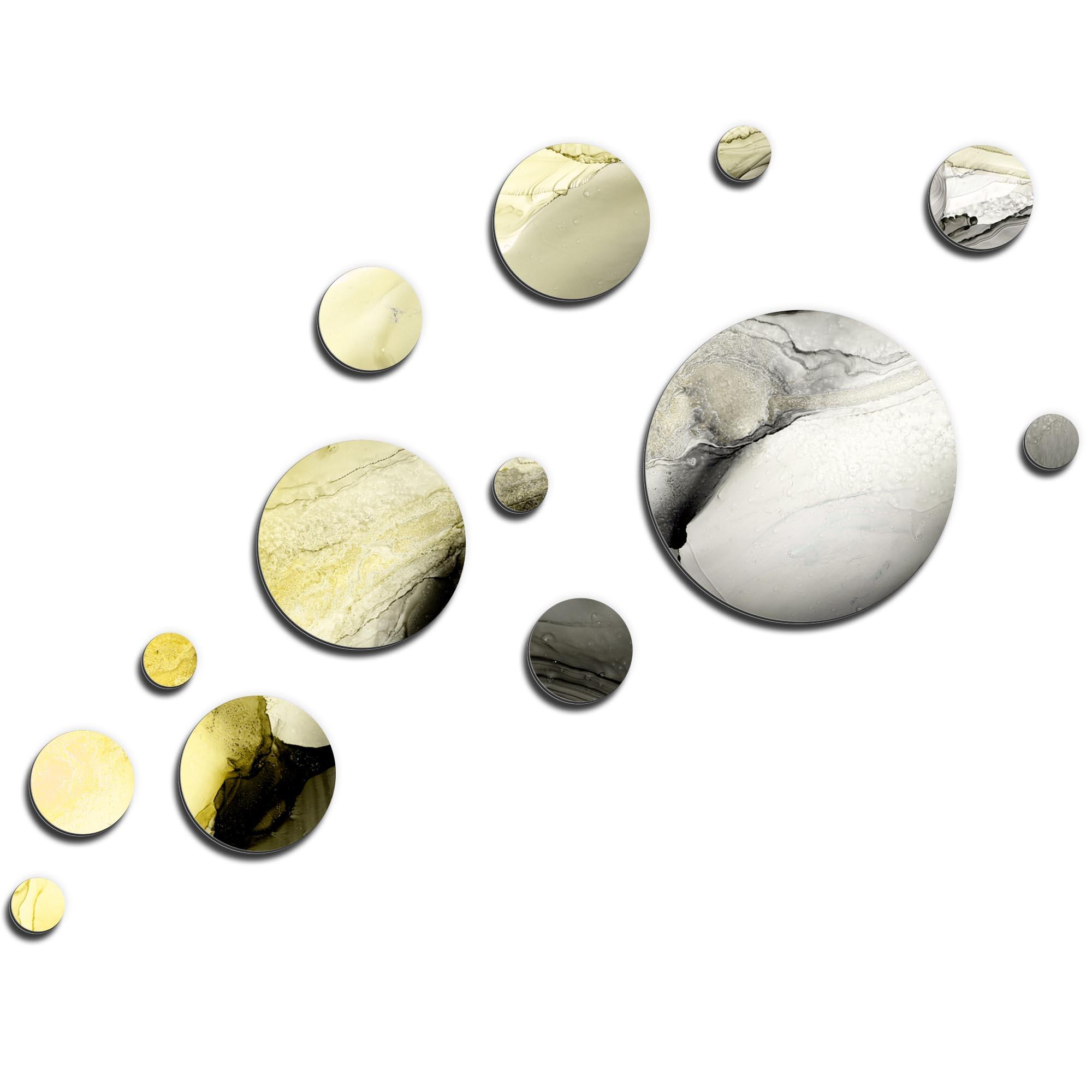 NAY 'Floating Gold' 66in x 50in Circles Abstract Art on Aluminum Composite