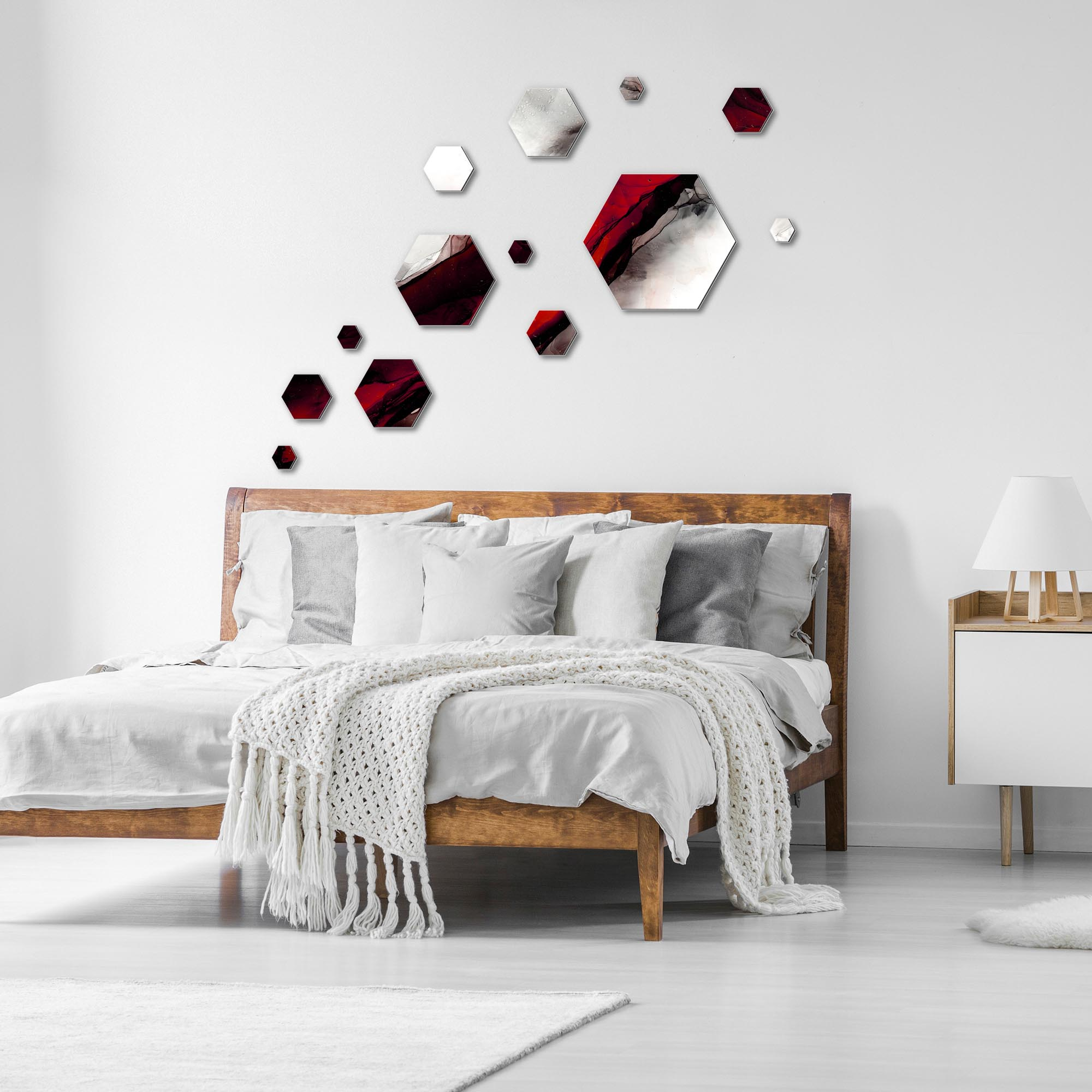 Carbon Red by NAY - Hexagons Abstract Art, Modern Wall Decor - Lifestyle View