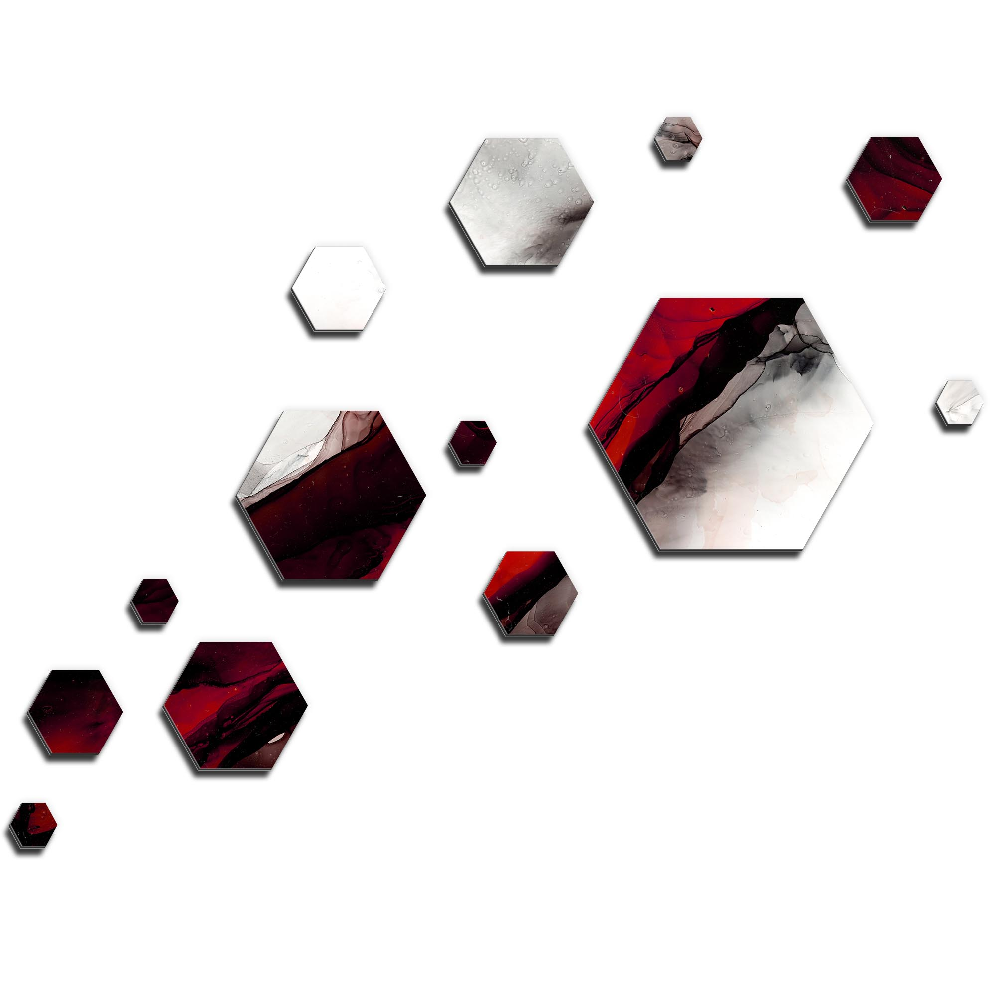 NAY 'Carbon Red' 66in x 50in Hexagons Abstract Art on Aluminum Composite
