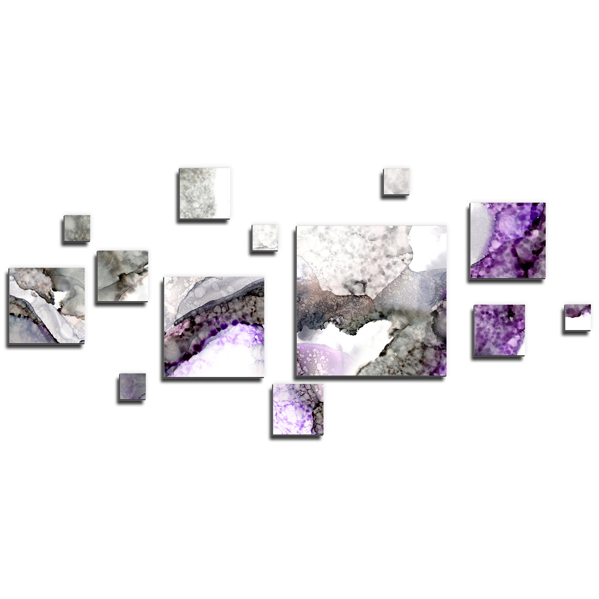 NAY 'Aerial Purple' 70in x 32in Squares Abstract Art on Aluminum Composite