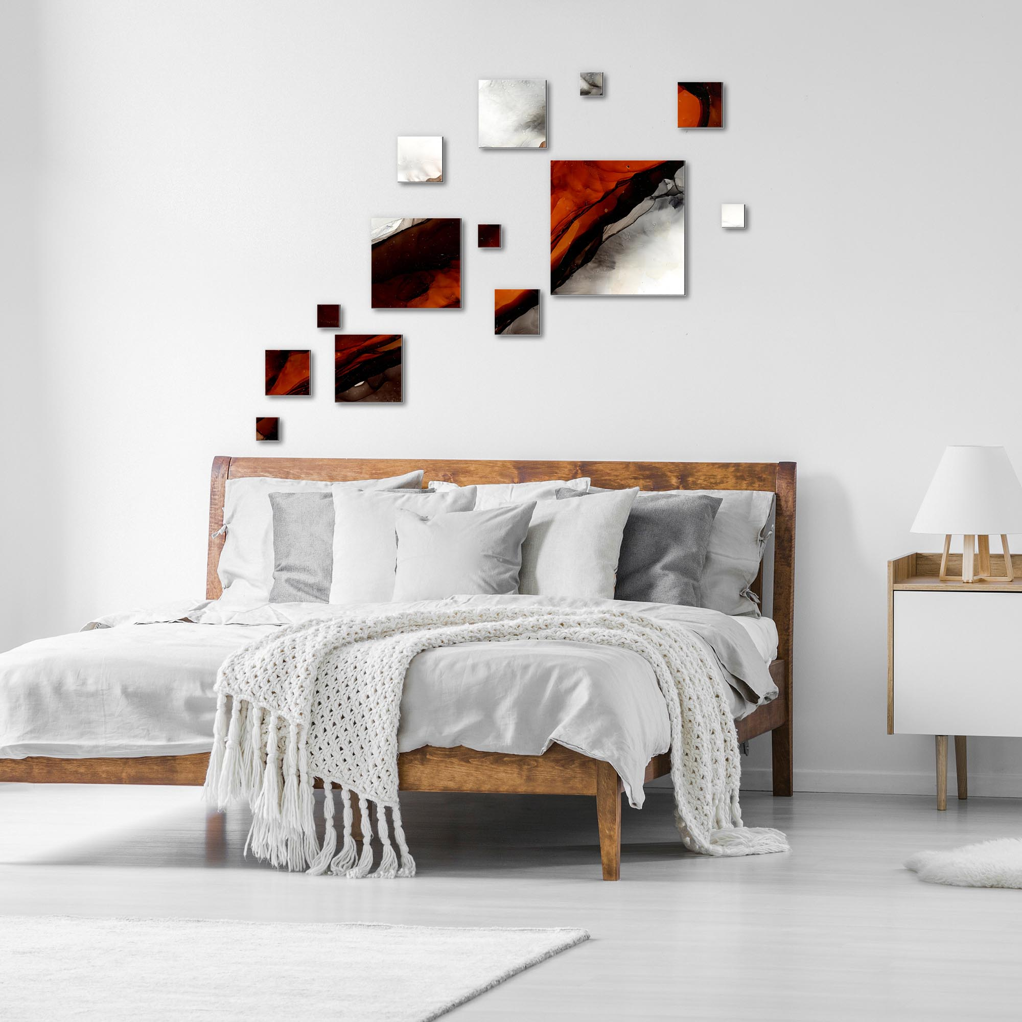 Pixels Rust by NAY - Squares Abstract Art, Modern Wall Decor - Lifestyle View