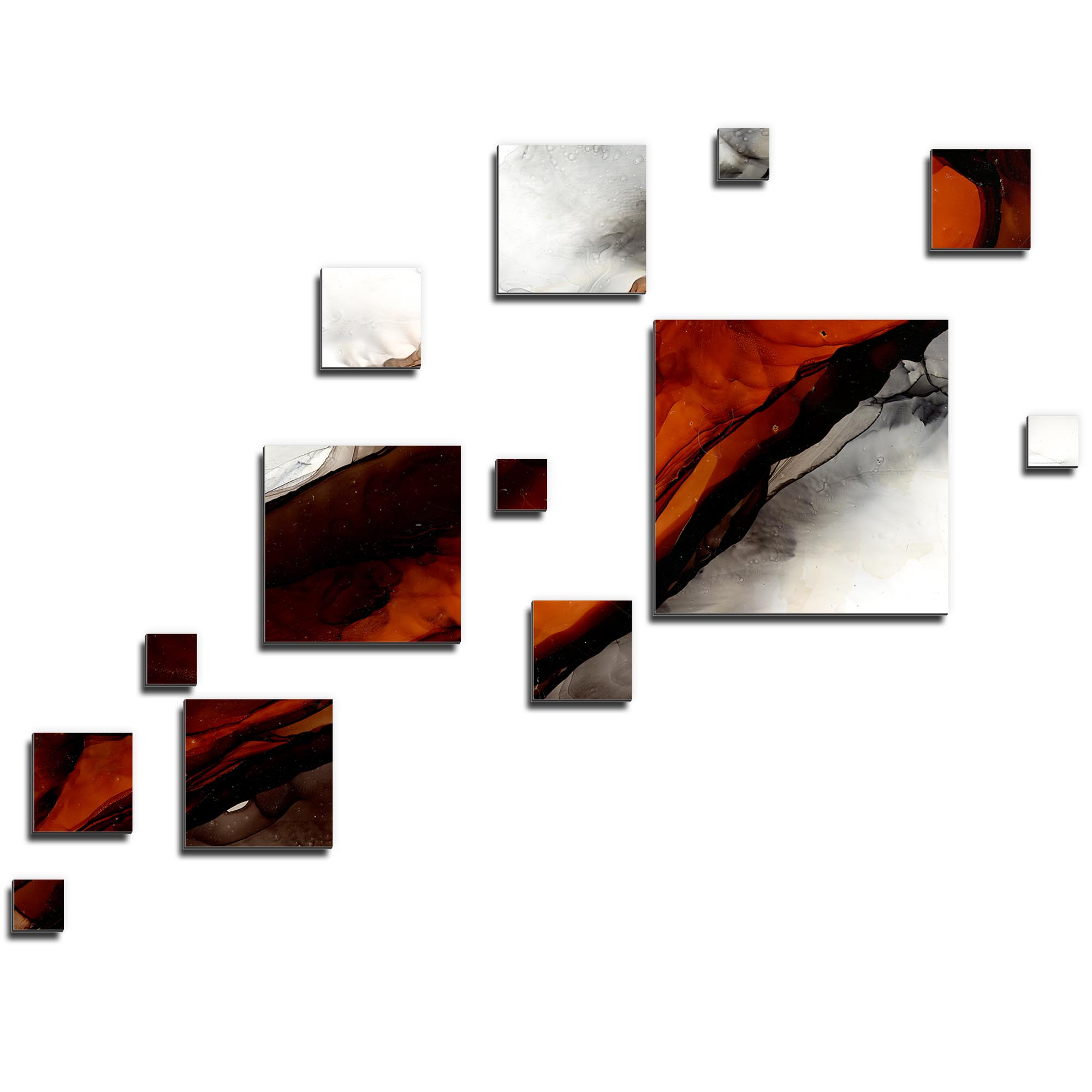 NAY 'Pixels Rust' 66in x 50in Squares Abstract Art on Aluminum Composite