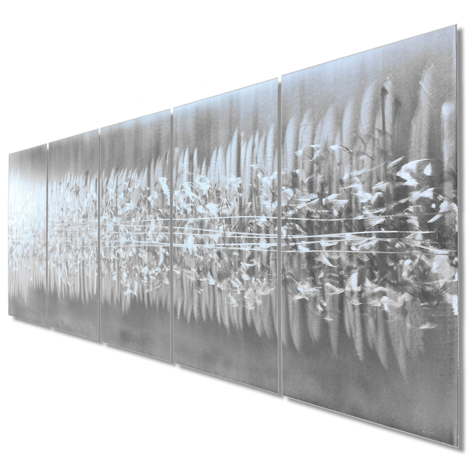 Abstract Metal Art 'Static' - Modern Urban Artwork on Natural Aluminum - Image 2