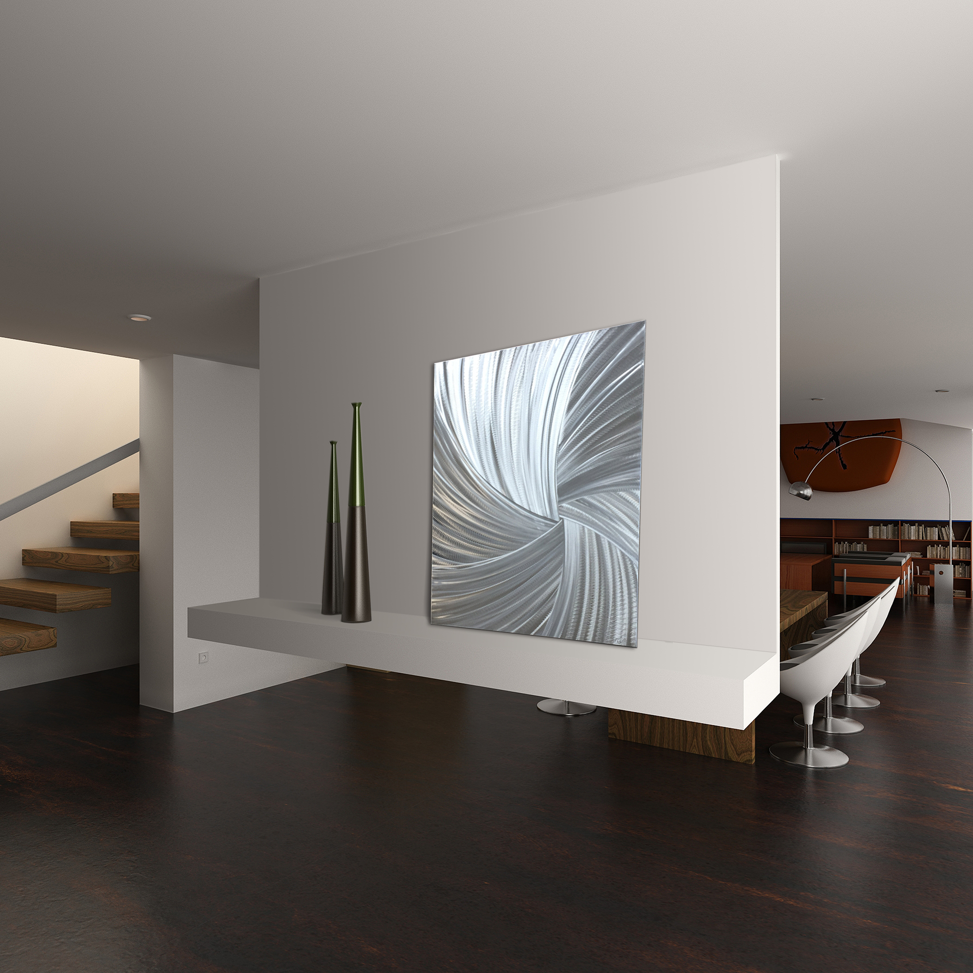 Starburst Metal Art 'Within the Folds' - Modern Artwork on Natural Aluminum - Lifestyle View