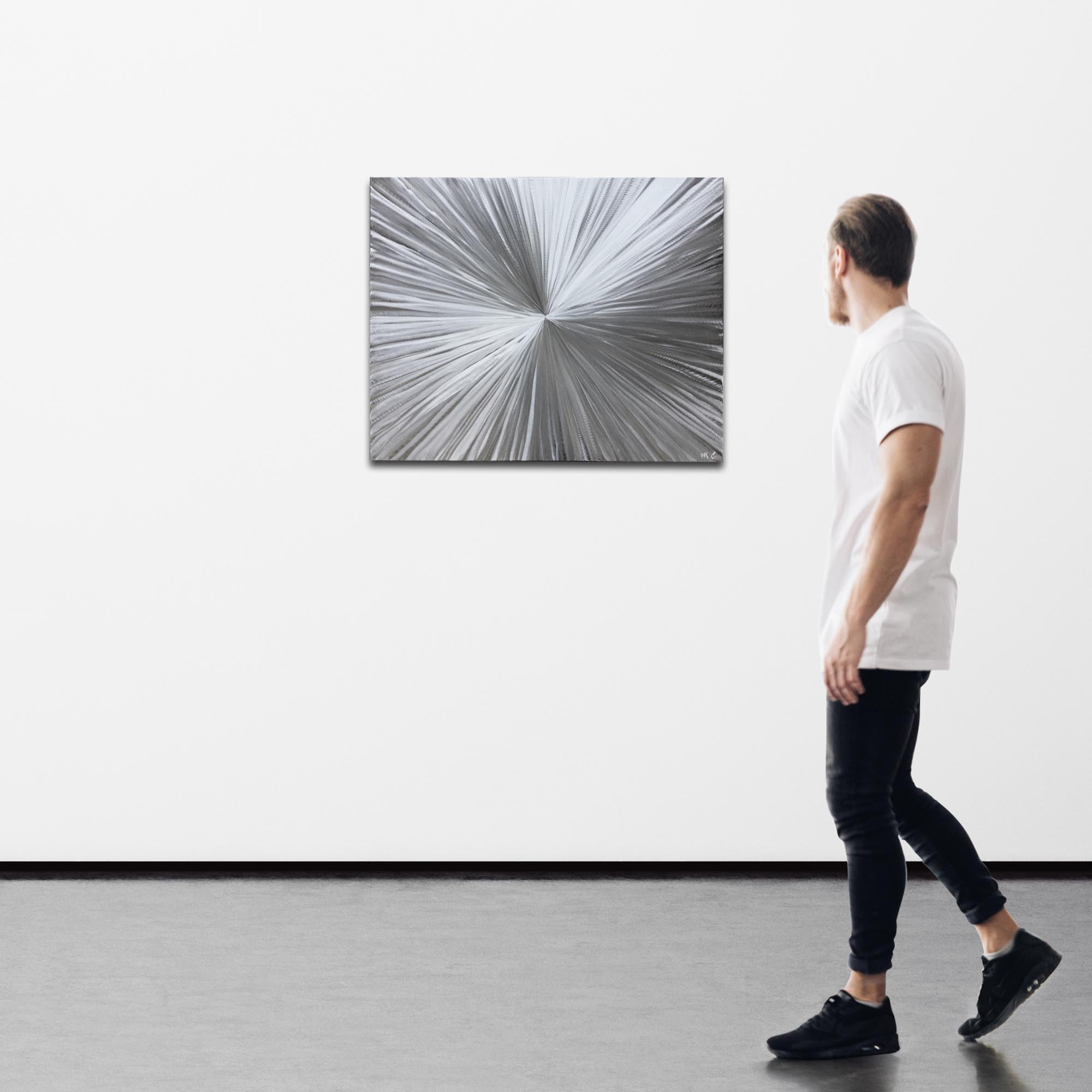 Bursting by Helena Martin - Sunburst Metal Art on Natural Aluminum - Image 3
