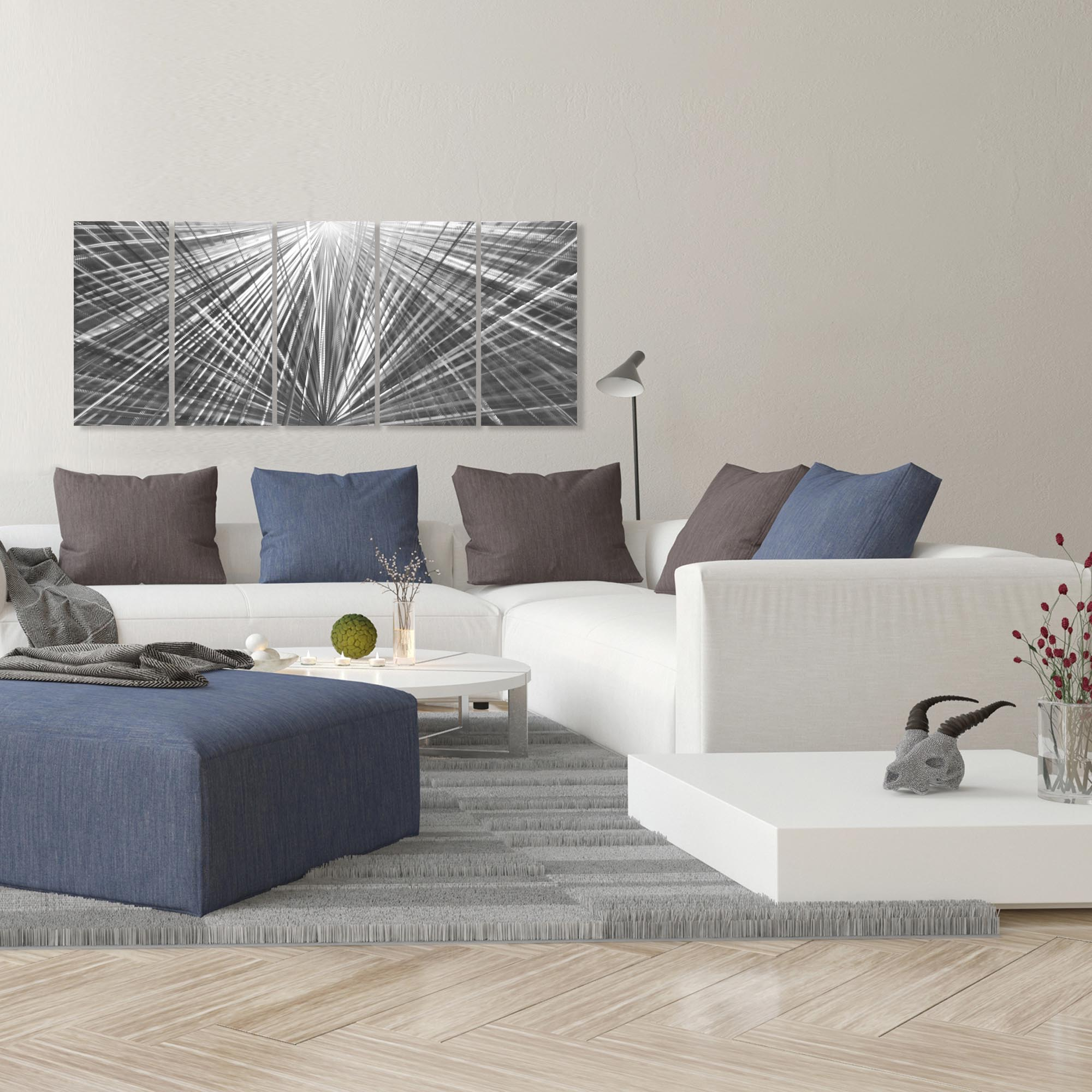 In Harmony 62x24in. Natural Aluminum Abstract Decor - Lifestyle View