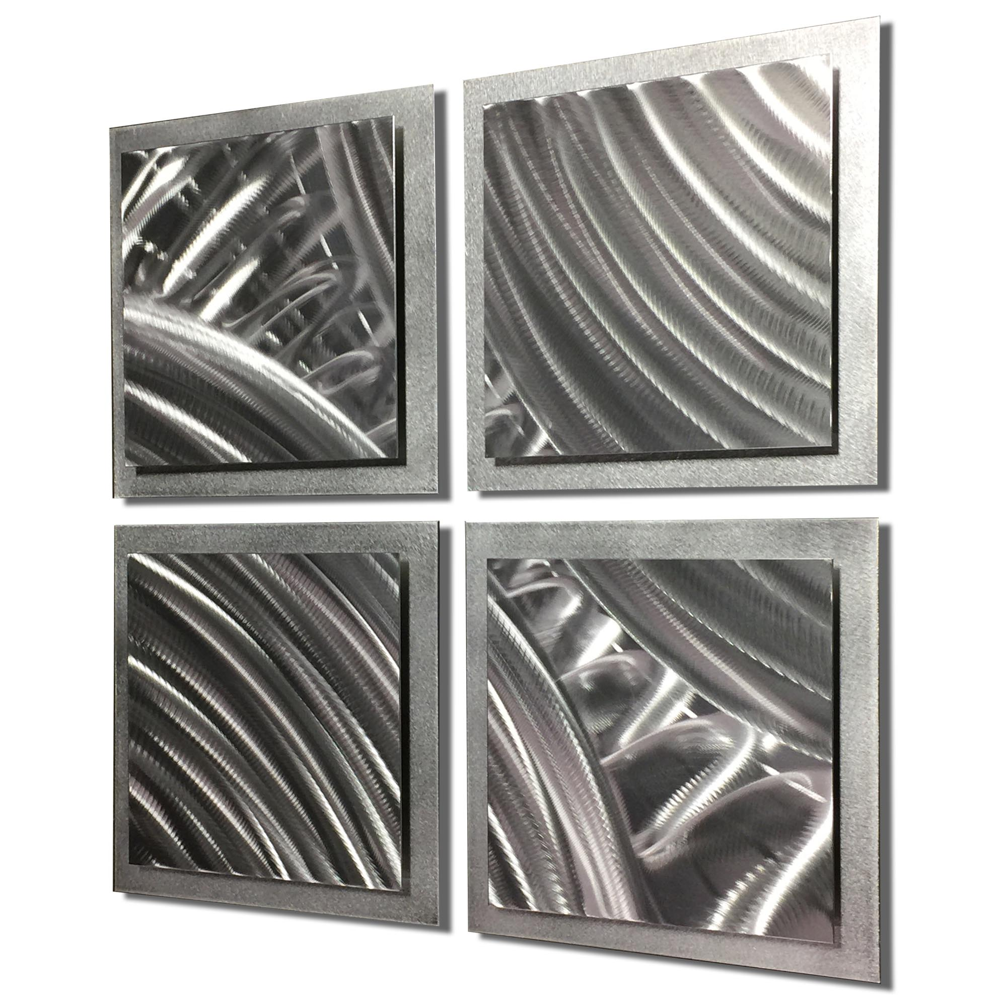 Silver Divisions 25x25in. Natural Aluminum Abstract Decor - Image 2