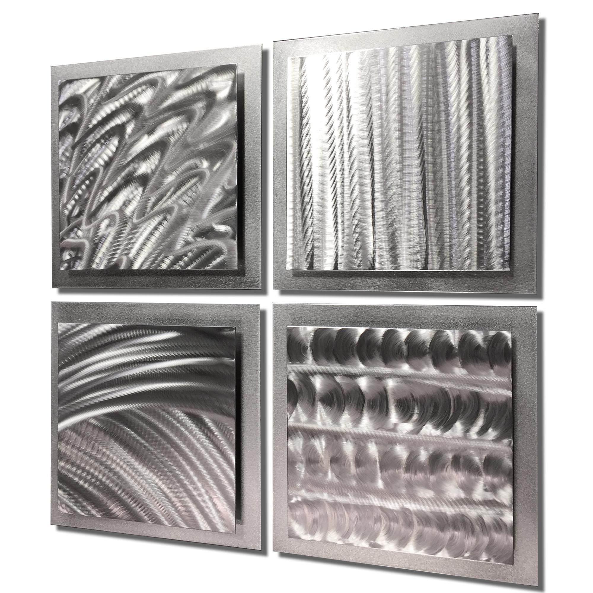 Silver Elements 25x25in. Natural Aluminum Abstract Decor - Image 2