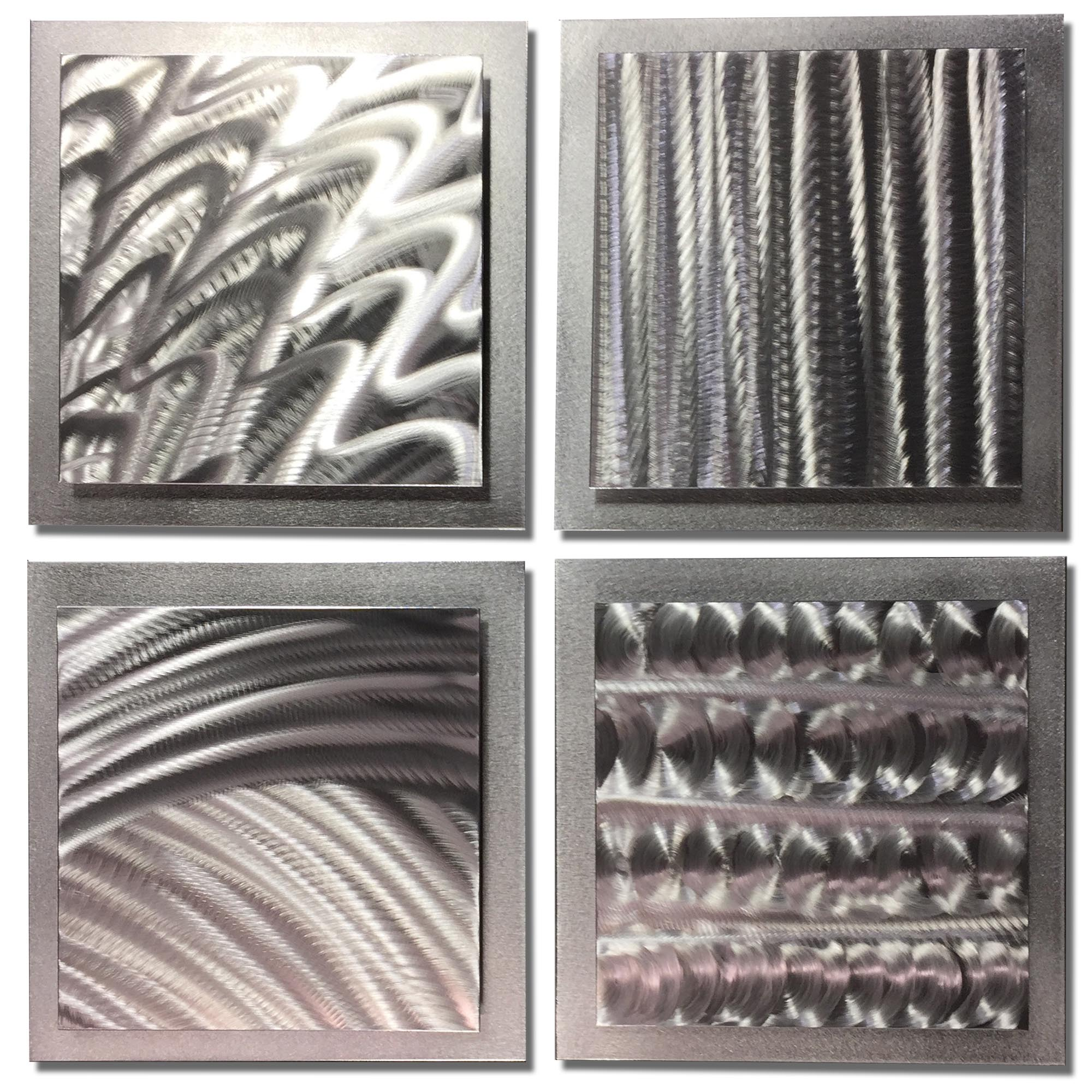 Silver Elements 25x25in. Natural Aluminum Abstract Decor