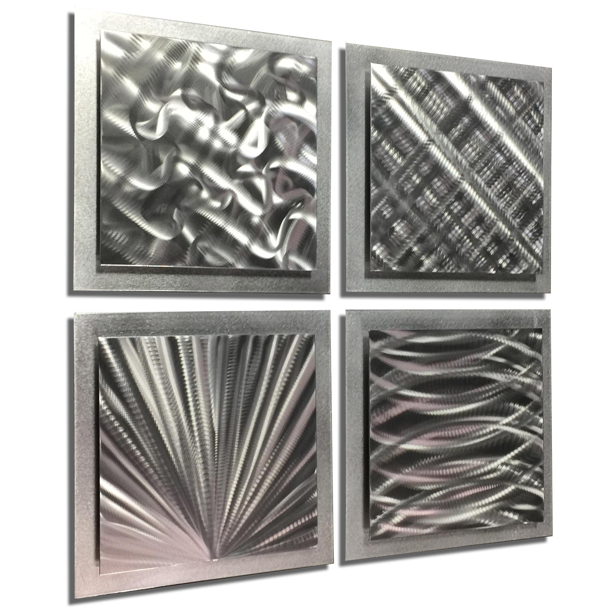 Silver Expressions 25x25in. Natural Aluminum Abstract Decor - Image 2