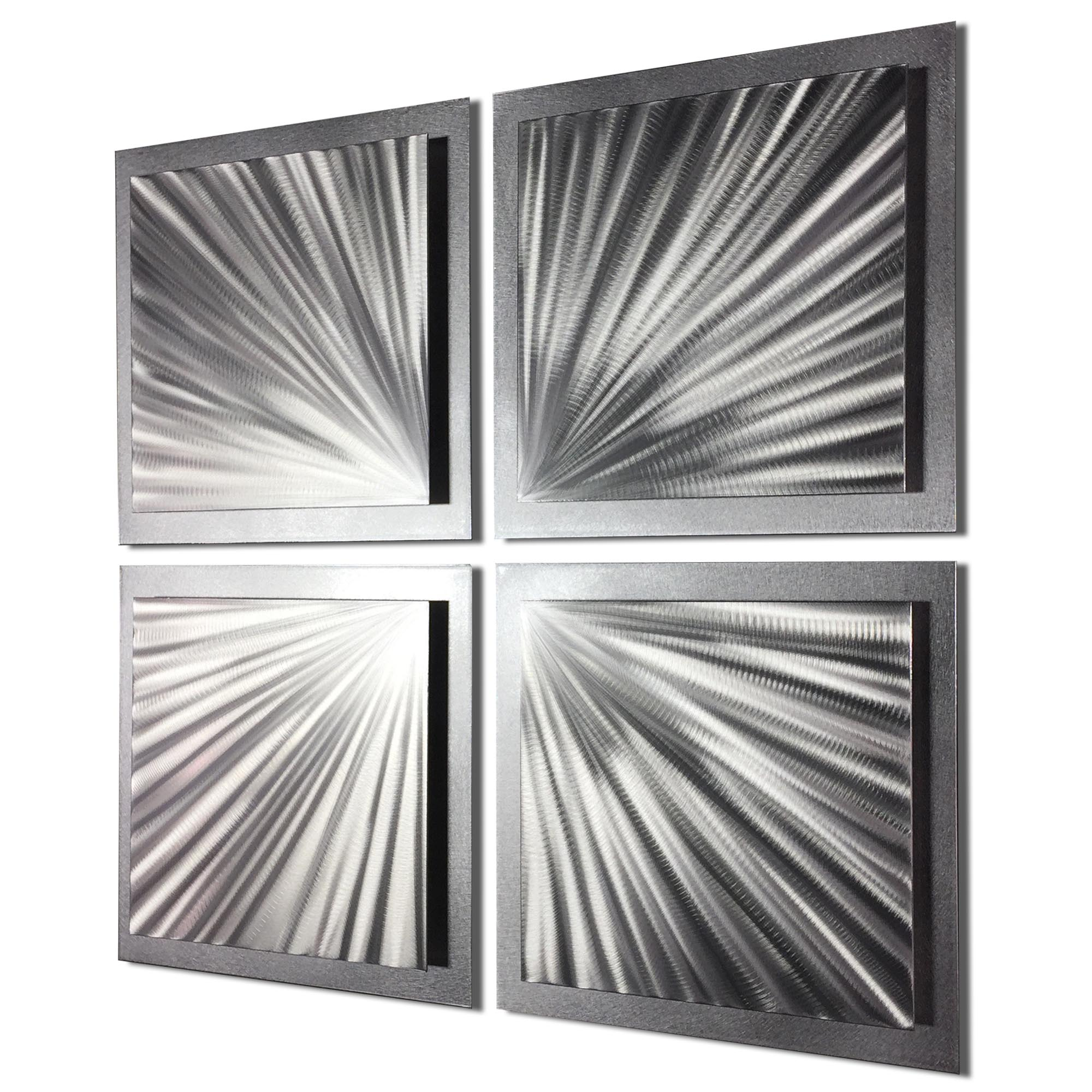 Silver Speed 25x25in. Natural Aluminum Abstract Decor - Image 2