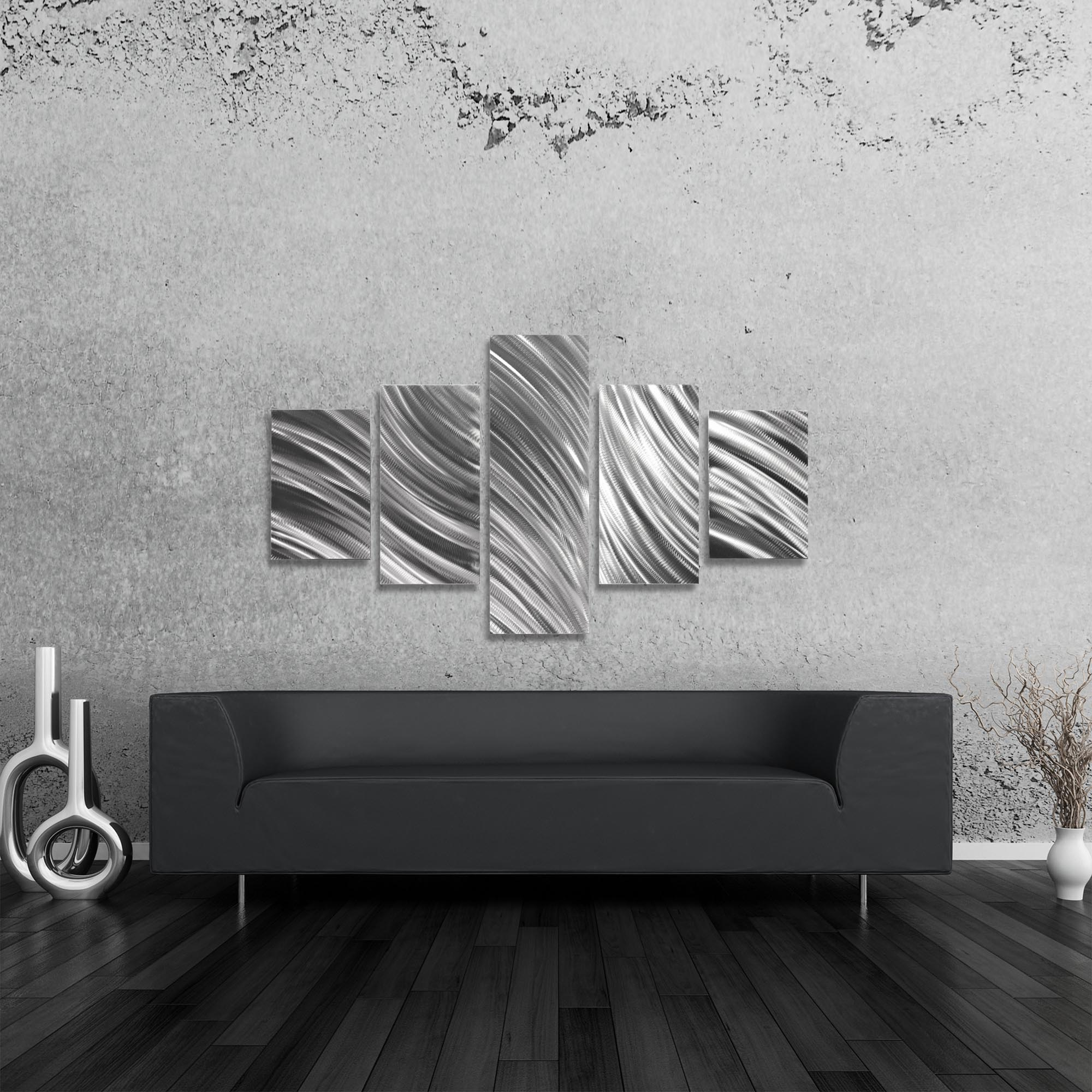 Columnar Flow 64x36in. Natural Aluminum Abstract Decor - Lifestyle View