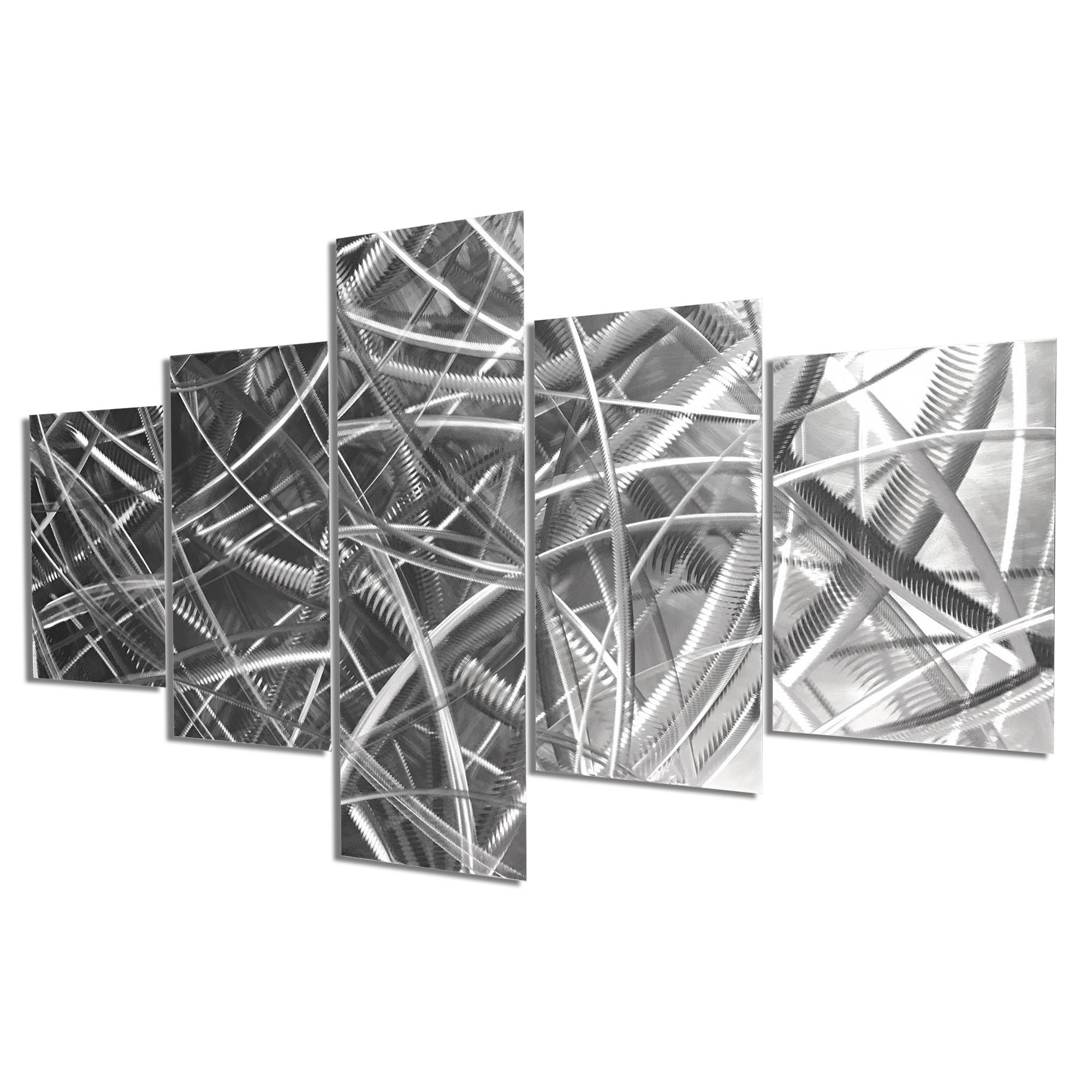 Columnar Fibers 64x36in. Natural Aluminum Abstract Decor - Image 2