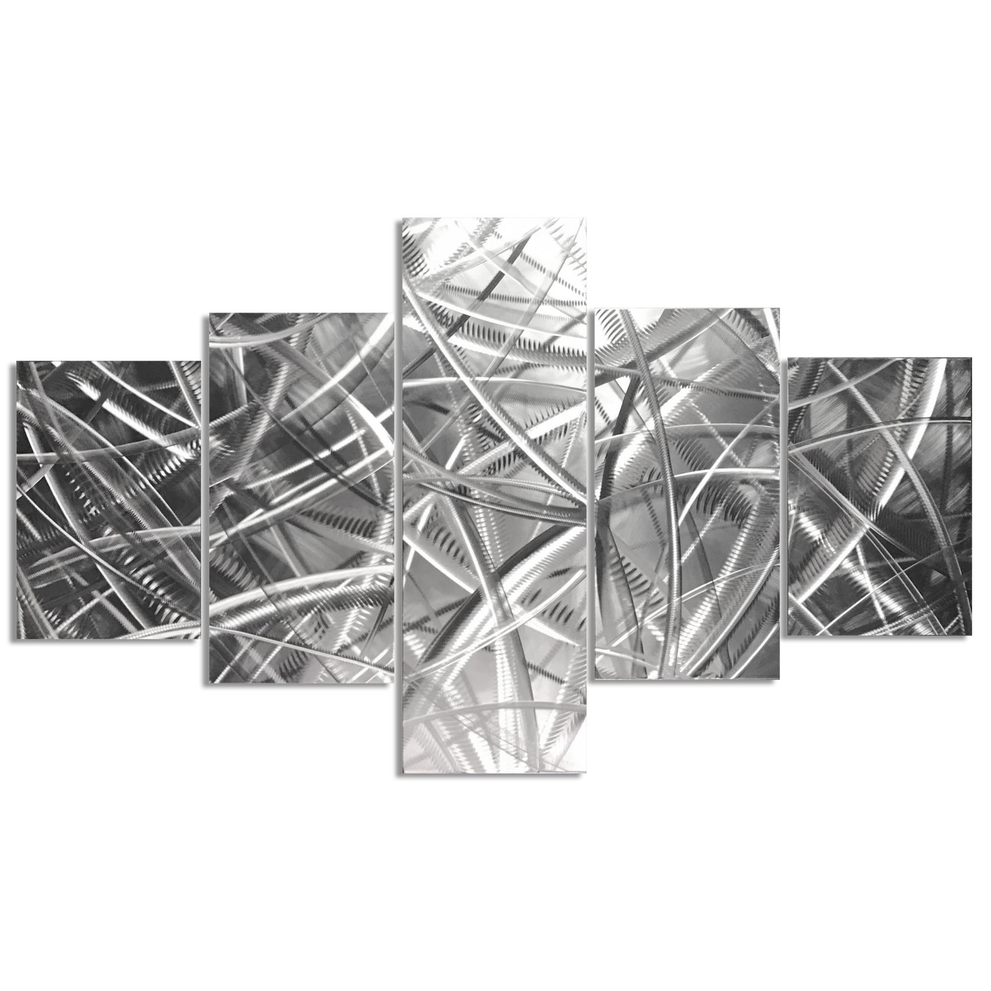 Columnar Fibers 64x36in. Natural Aluminum Abstract Decor