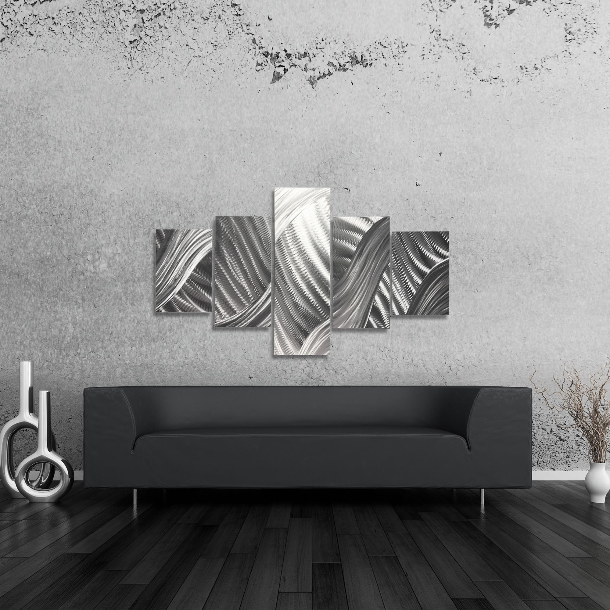 Columnar Brushstrokes 64x36in. Natural Aluminum Abstract Decor - Lifestyle View