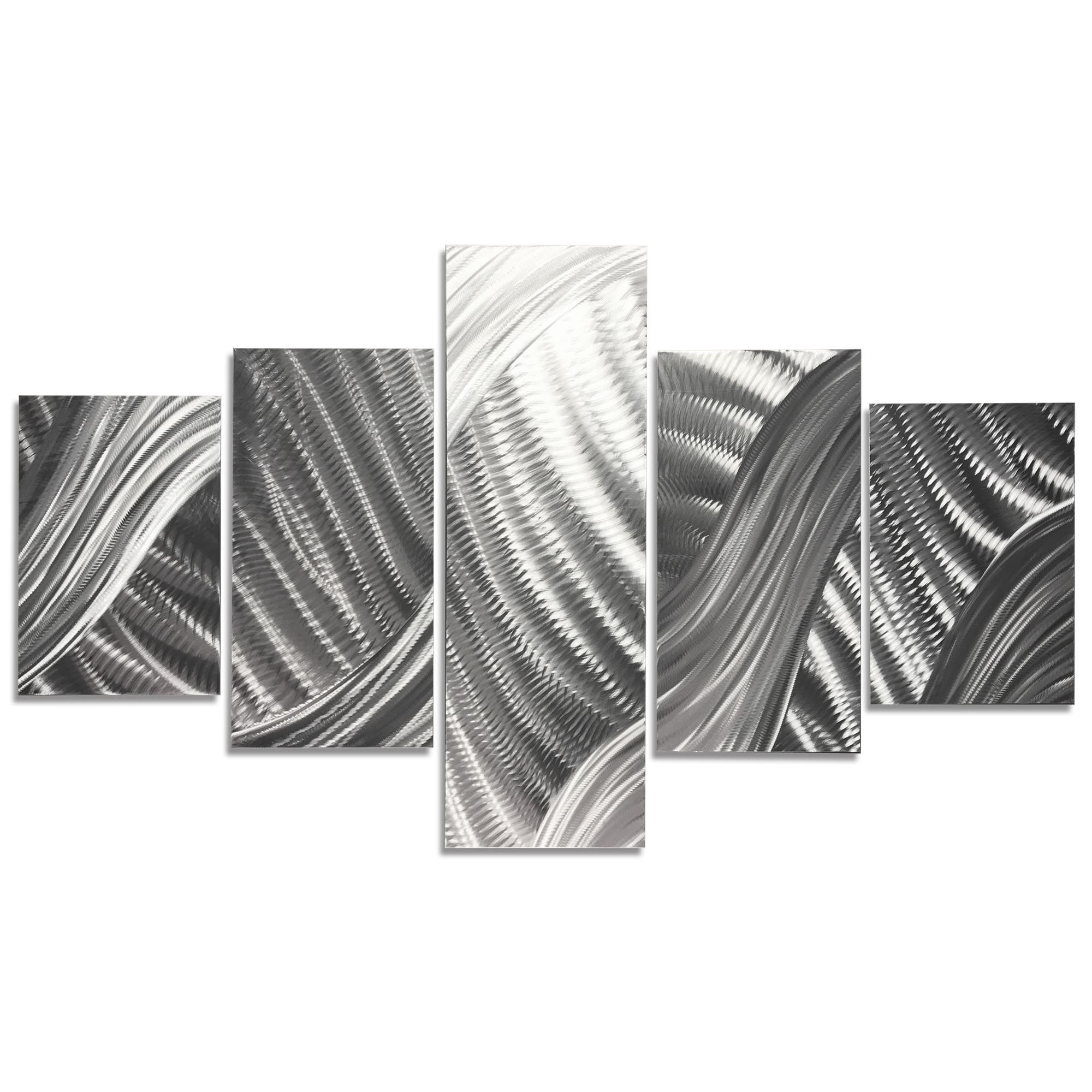 Columnar Brushstrokes 64x36in. Natural Aluminum Abstract Decor