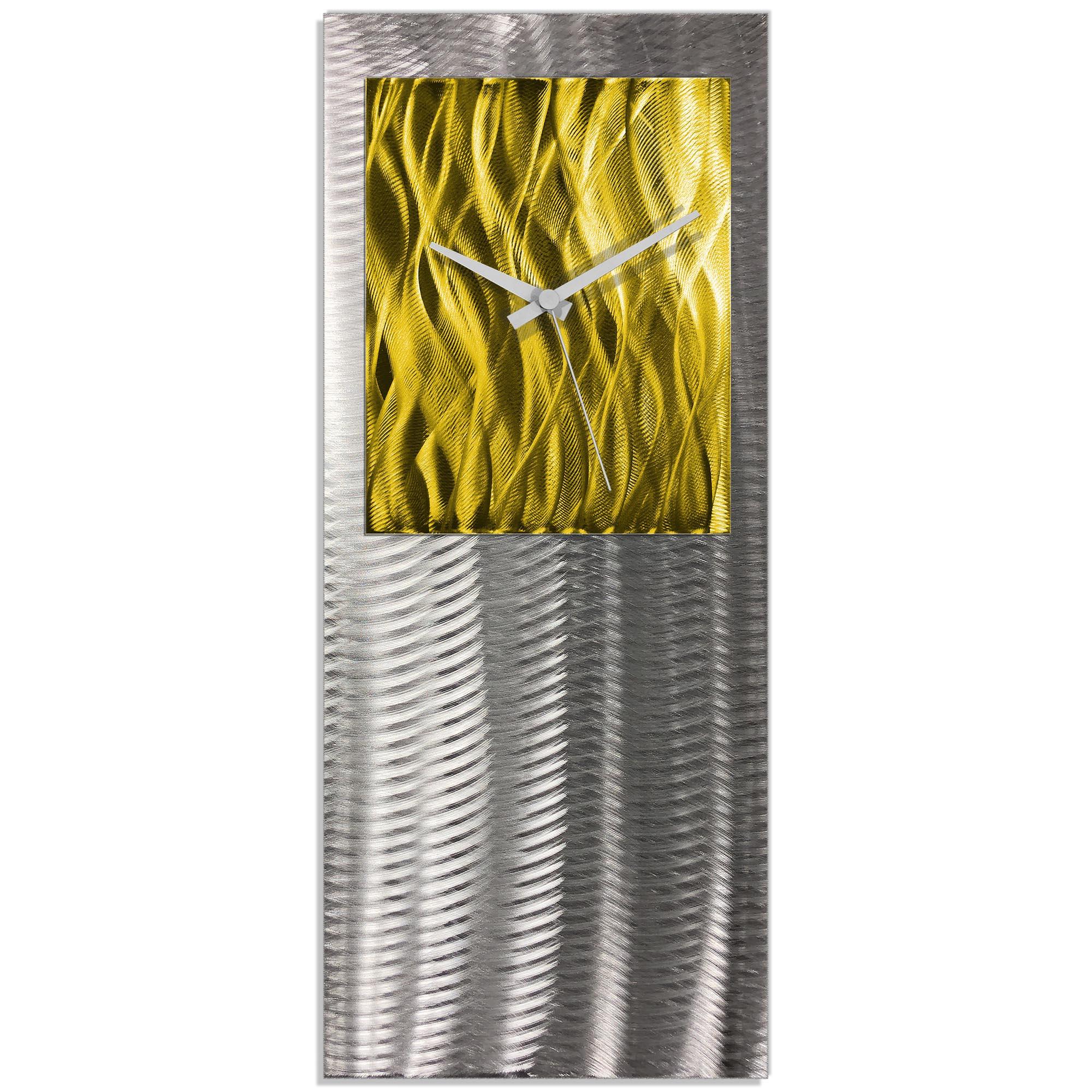 Metal Art Studio Abstract Decor Yellow Studio Clock 10in x 24in